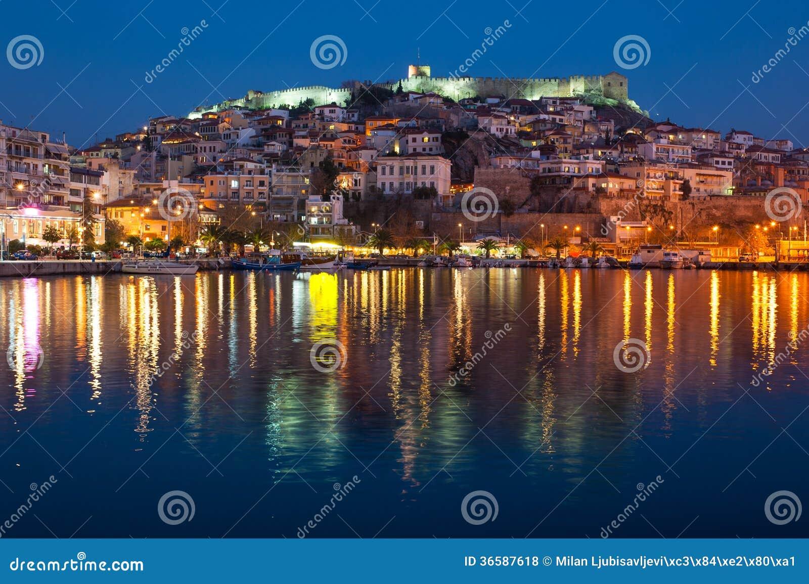 Kavala Town at Night