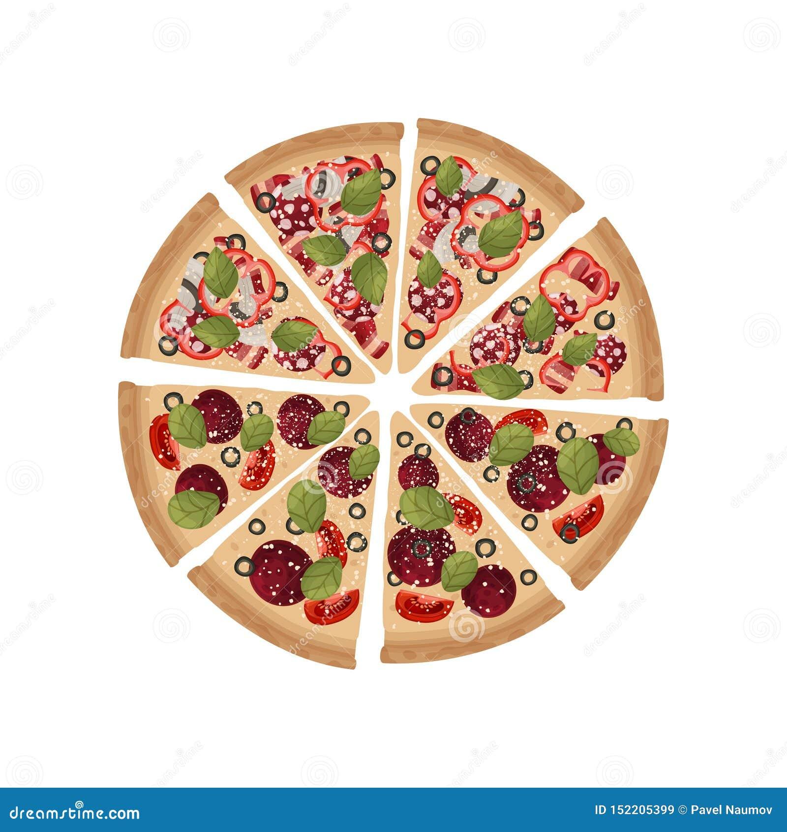 Kawałki dwa rodzaju pizza składają w całym okręgu t?a ilustracyjny rekinu wektoru biel