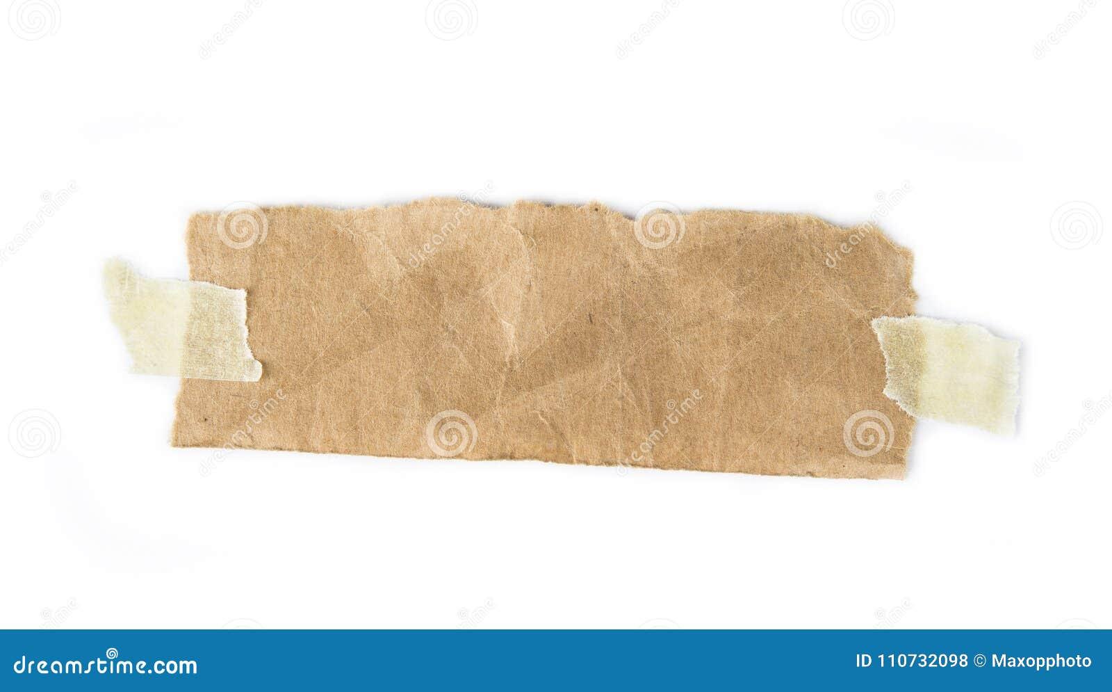 Kawałki poszarpany nutowy papier ciąć na arkusze z adhezyjną kleistą taśmą wtykającą