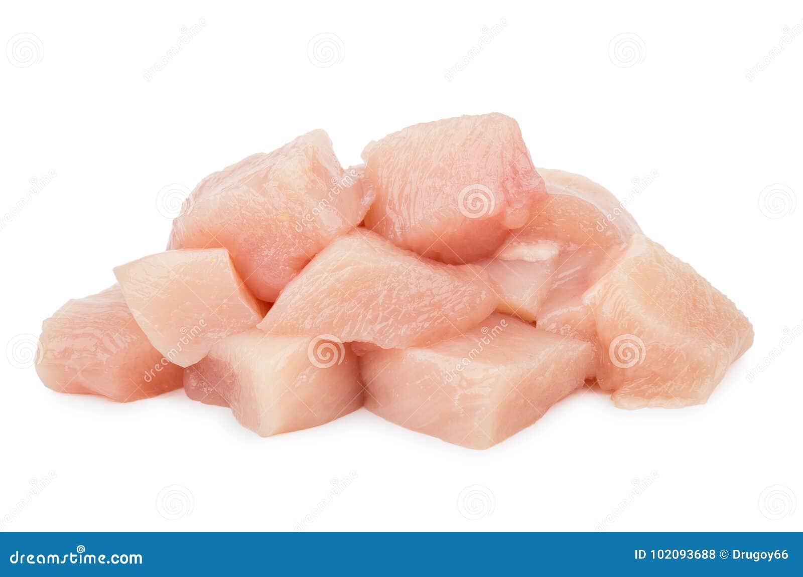 Kawałki surowy kurczaka mięso odizolowywający na bielu