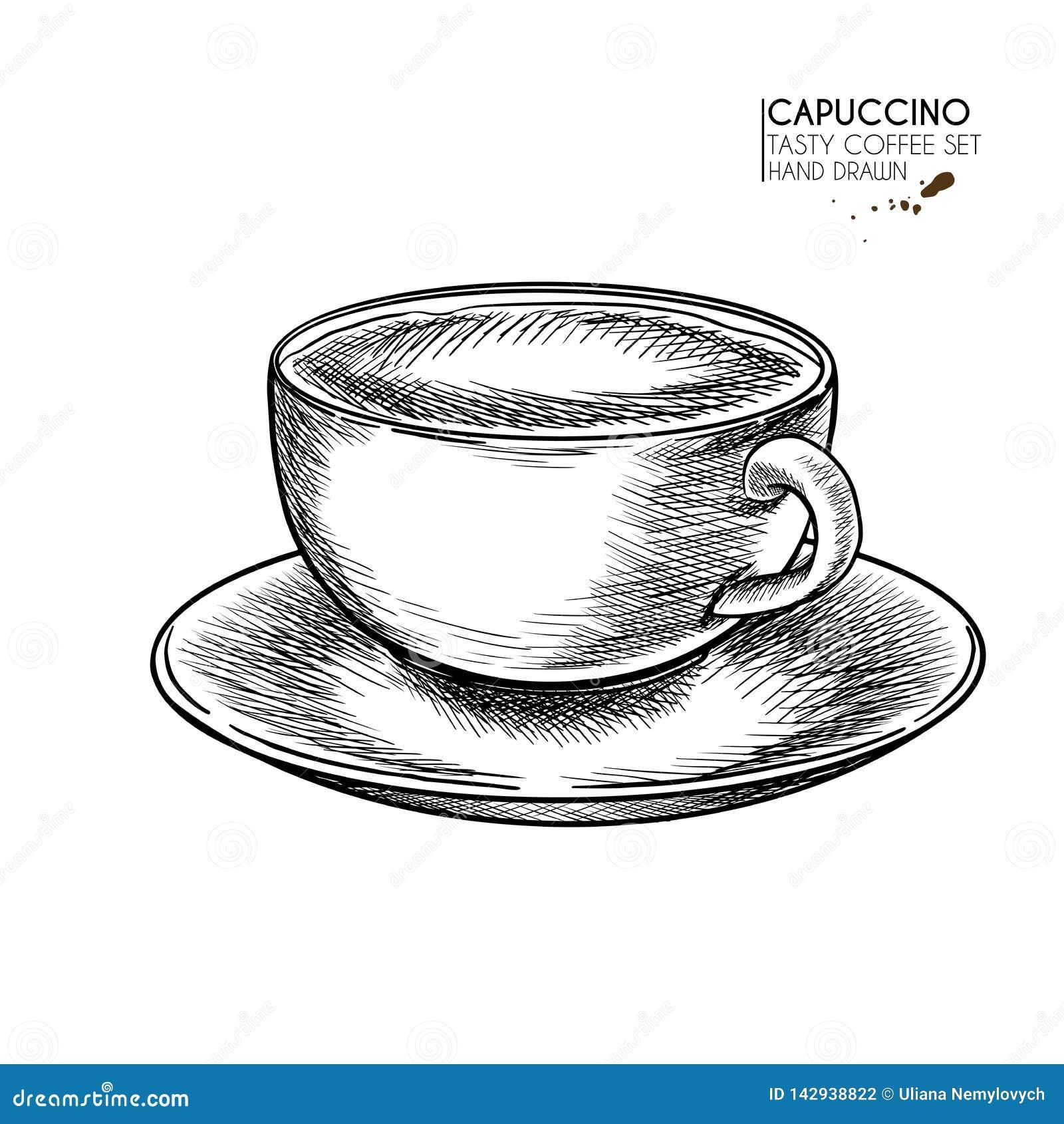 Kawa biel odosobniony ustalony R?ka rysuj?ca fili?anka Kubek cappuccino lub opóźniony z mleko pianą Wektor graweruj?ca ikona Rank