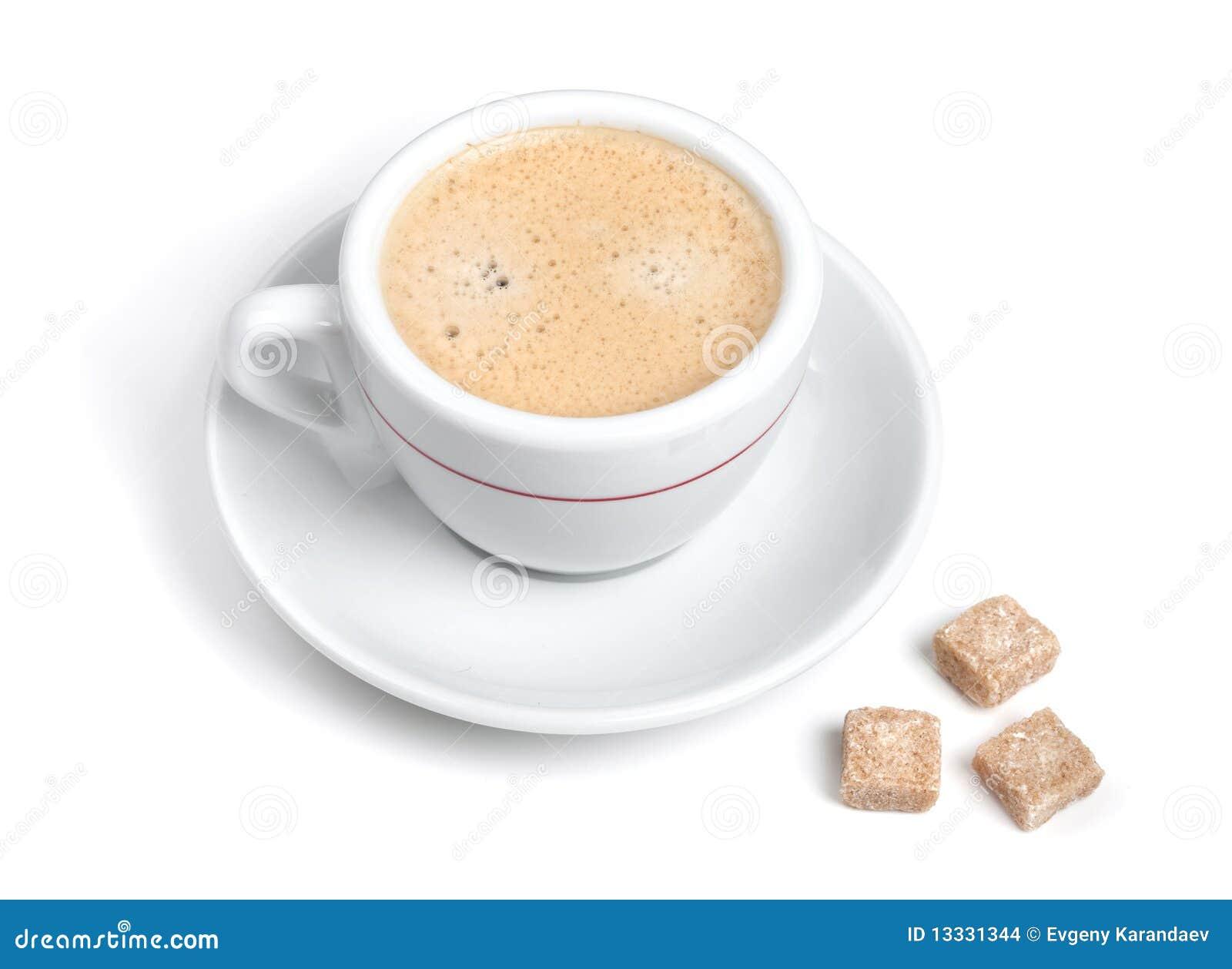 Kawa espresso dojny kawałków cukier trzy