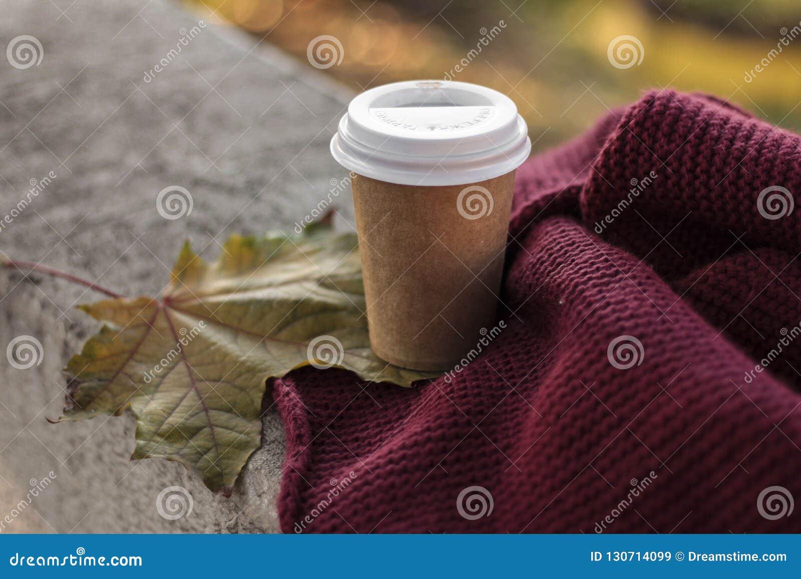 Kawa iść filiżanka i szalik w jesieni