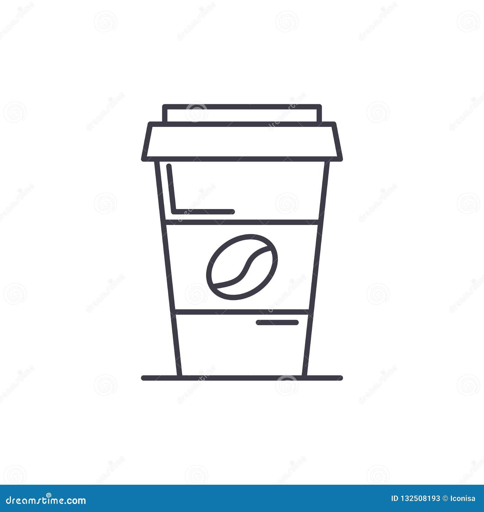 Kawa iść kreskowy ikony pojęcie Kawa iść wektorowa liniowa ilustracja, symbol, znak