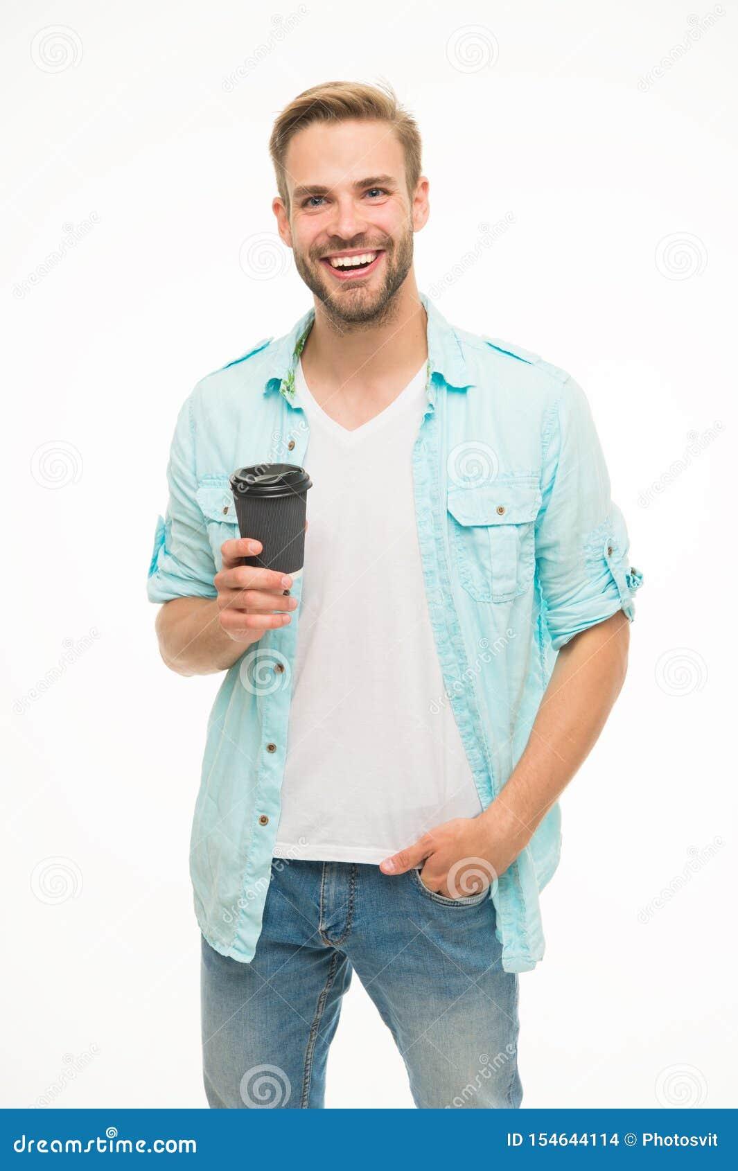 Kawa nastrój na dobre Recyclable fili?anka Modnisia mężczyzny chwyta papieru filiżanka przesta? si? odpr??y? Pije mnie aktywnego