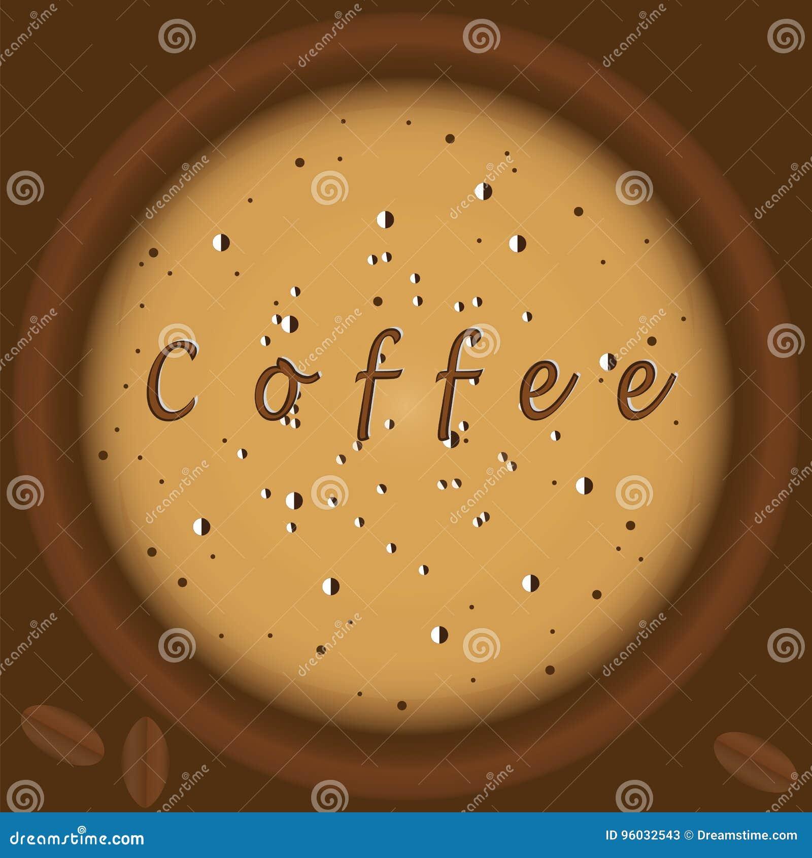 Kawa z piankowej odgórnego widoku tła brązu ilustracyjnej sztuki kreatywnie nowożytnym wektorem