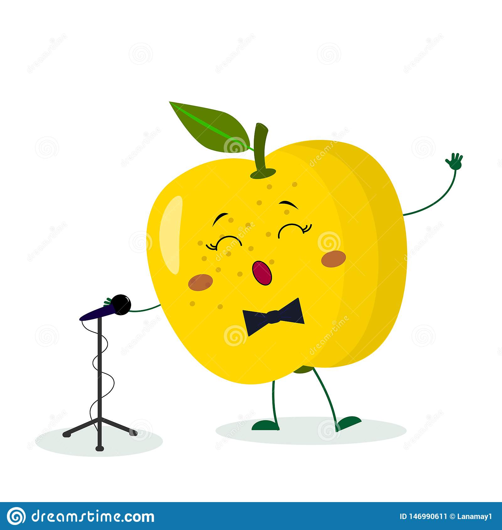 Kawai Cute Fruit Yellow Apple Singer With A Bow Tie Sings