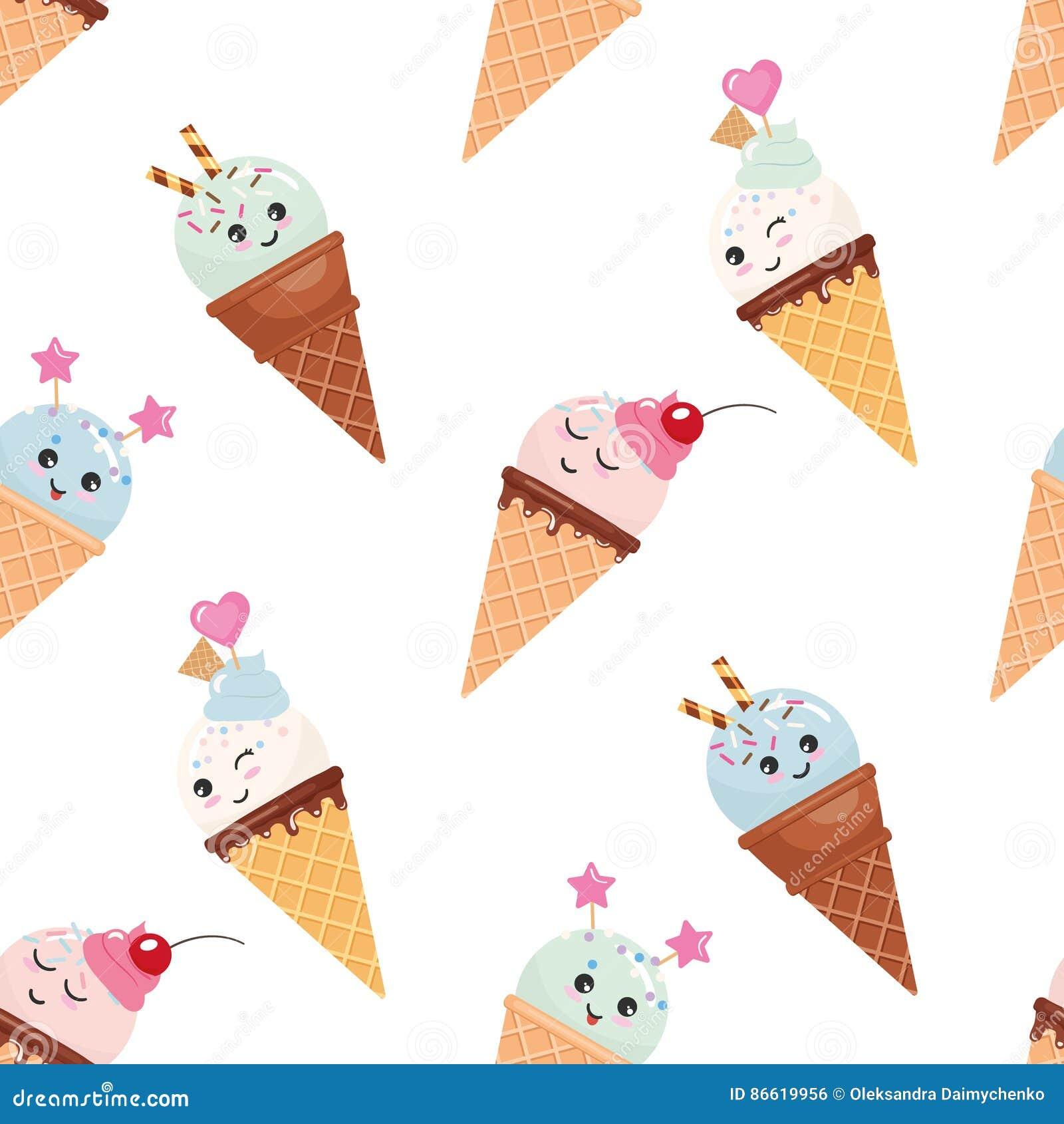 Kawaii冰淇凌无缝的样式背景 单独冻结的结构树 查出在白色