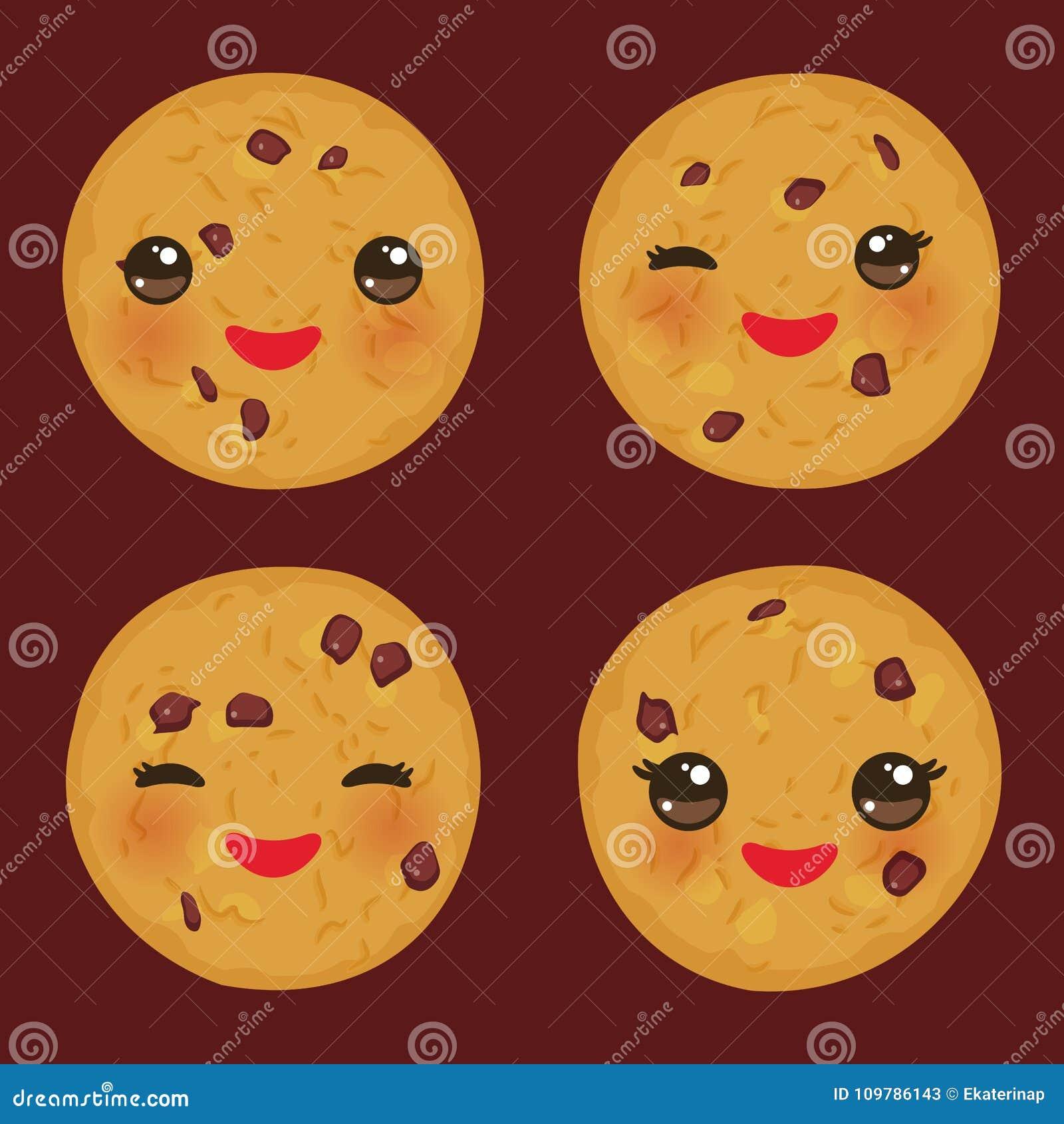 Kawaii被设置新近地被烘烤的巧克力曲奇饼隔绝在棕色背景 与桃红色面颊和眼睛的逗人喜爱的面孔 明亮的颜色 v