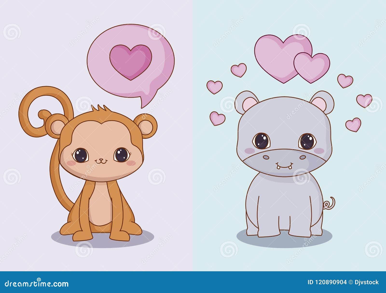 Kawaii Animals And Love Design Stock Vector - Illustration of