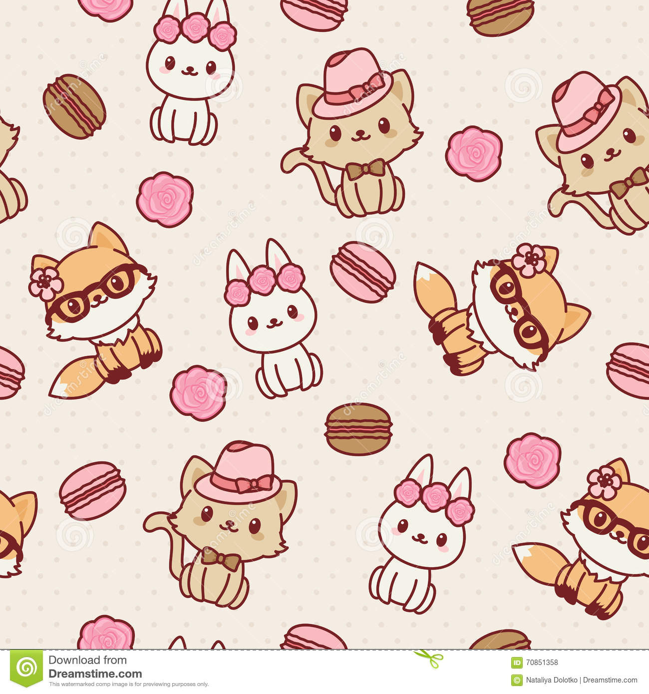 Kawaii animals seamless wallpaper stock vector - Papel decorativo para paredes ...