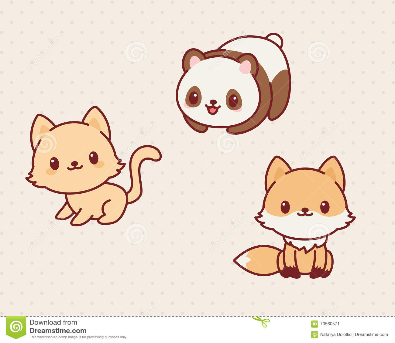 Kawaii animals set, part 2. Vector illustration of cute animals ...
