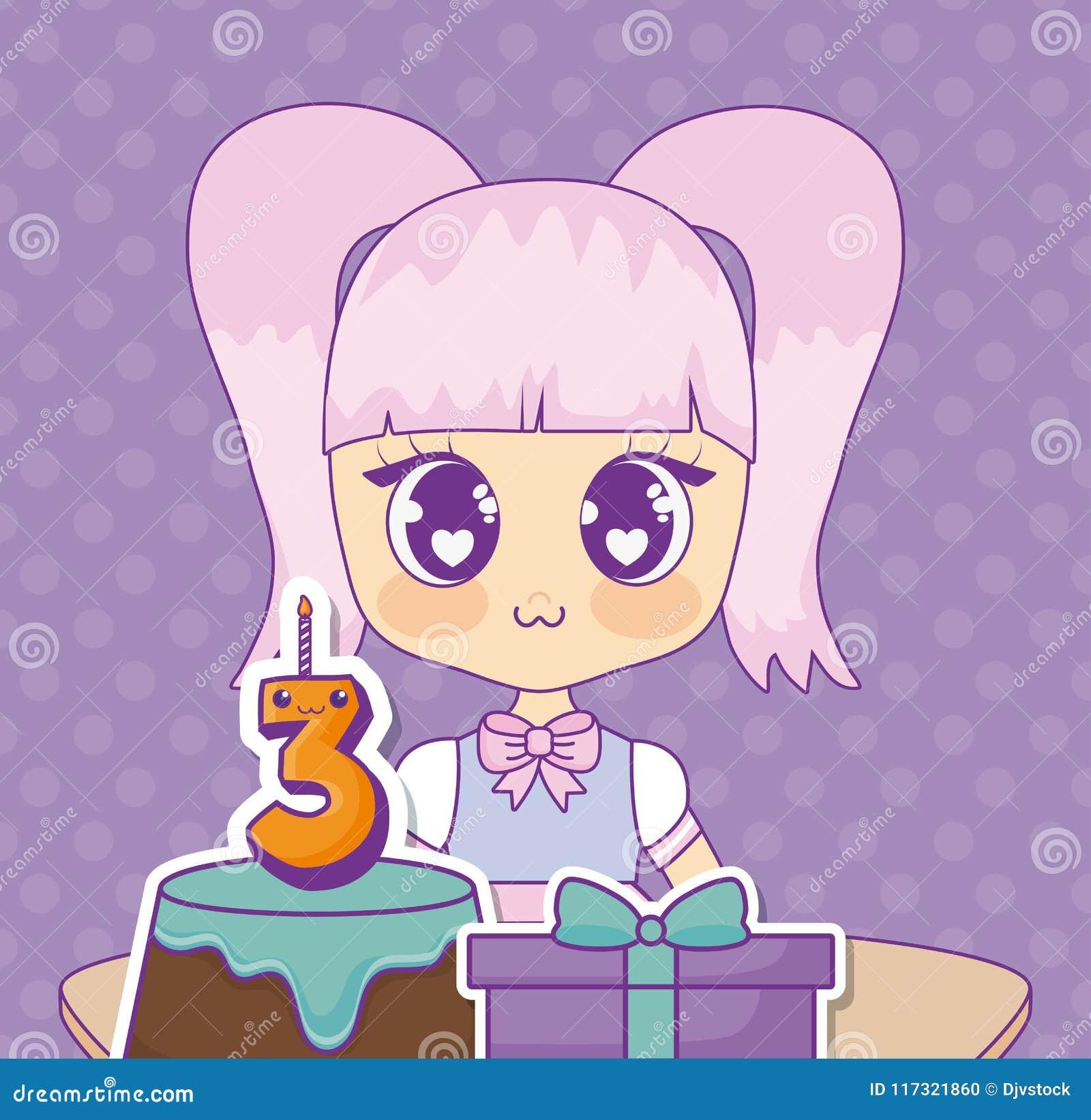 Kawaii Anime Girl Design Stock Vector Illustration Of Card 117321860