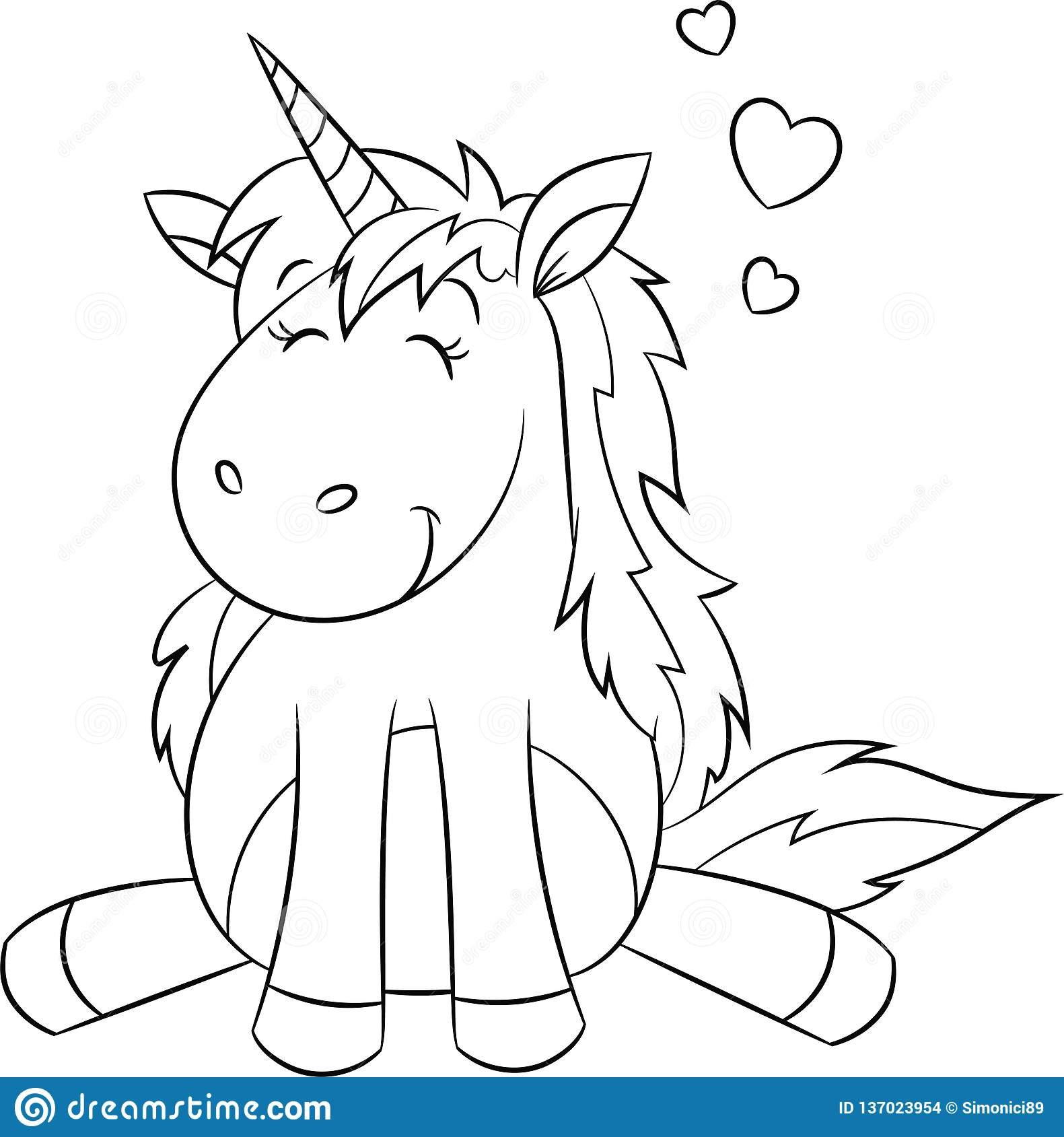 Kawaii Black And White Illustration Of A Unicorn, With