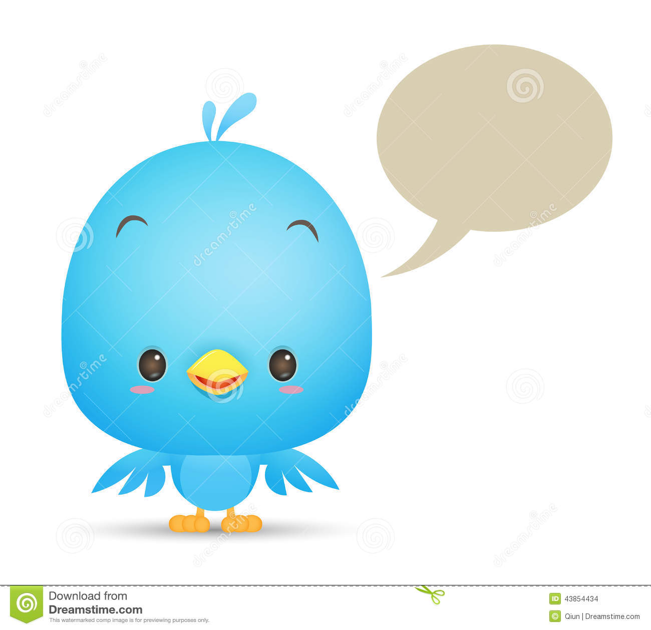 Kawaii Blue Bird With Blank Bubble Stock Vector - Image: 43854434