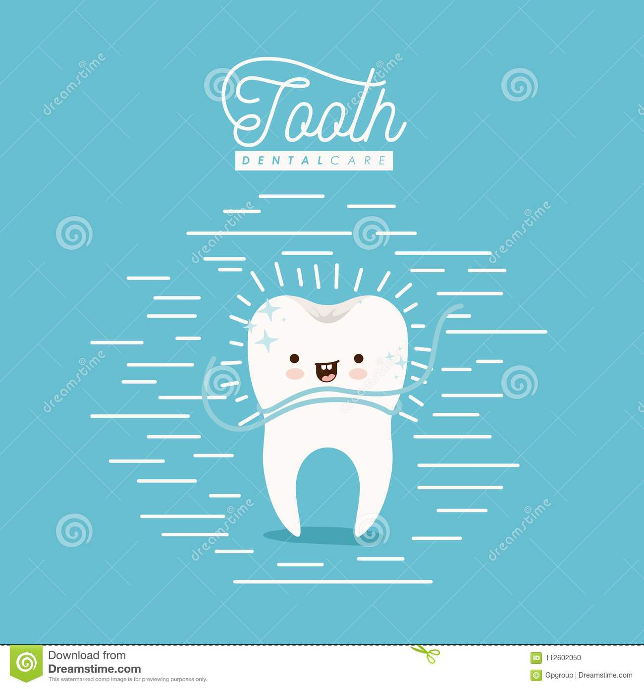 Kawaii caricature clean tooth dental care with floss smiling expression on color poster with lines
