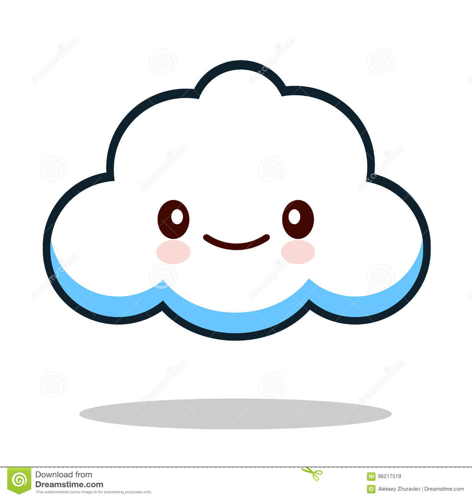 Kawaii Cartoon White Emoticon Cute Cloud Stock Vector