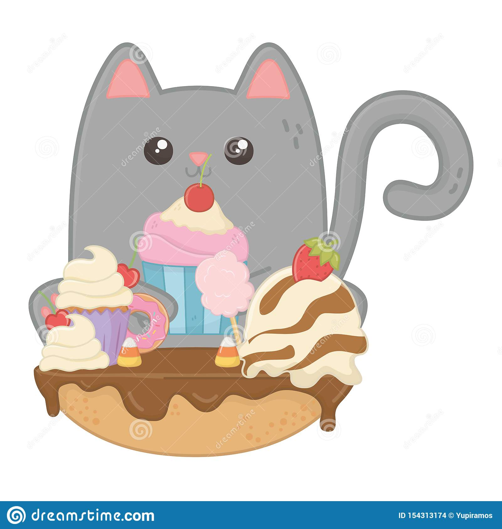 Kawaii Of Cat Cartoon With Cake Design Stock Vector Illustration