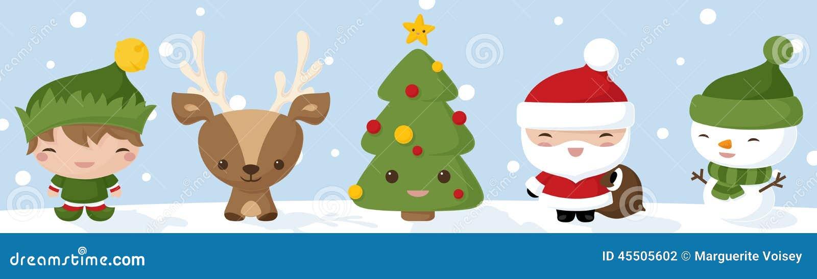 Kawaii Christmas Icons stock vector. Illustration of smiling - 45505602