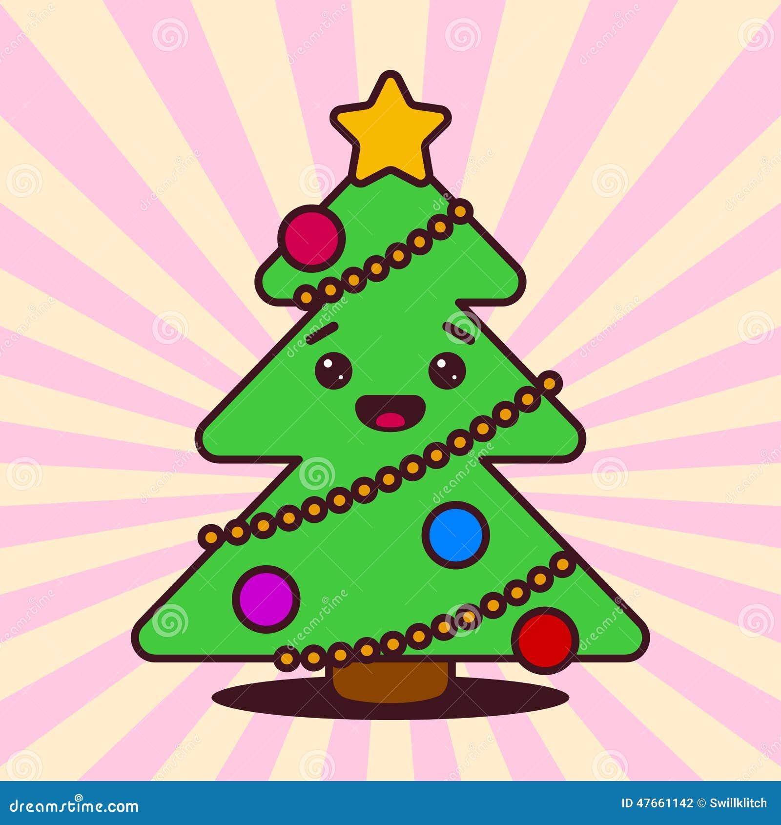 Kawaii Christmas Tree With Smiling Face Illustration 47661142 Megapixl Kawaii christmas tree pine decoration cartoon vector illustration. megapixl com