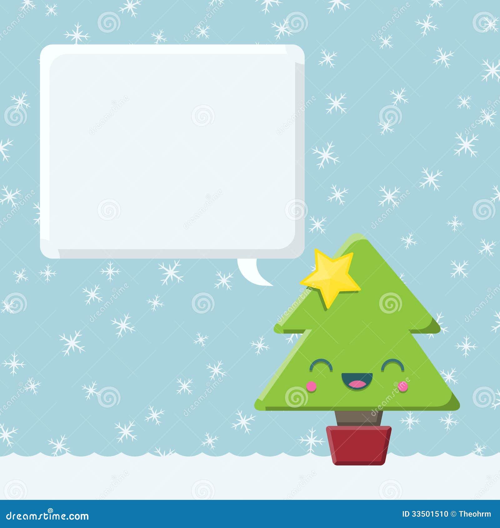 Kawaii Christmas Tree With Speech Bubble Stock Photo - Image: 33501510
