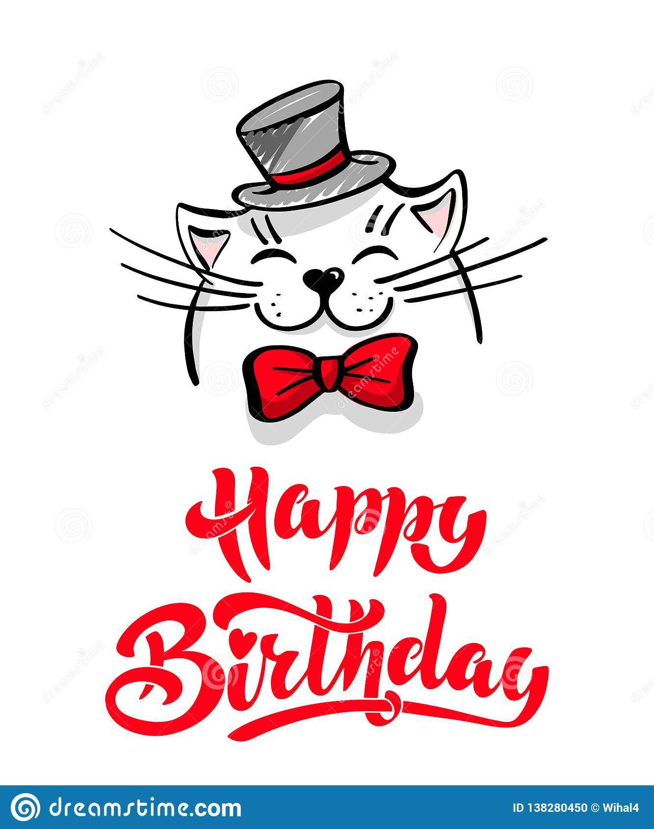 Fine Kawaii A Contented White Cat With A Hat And Bow Tie Lettering Personalised Birthday Cards Veneteletsinfo