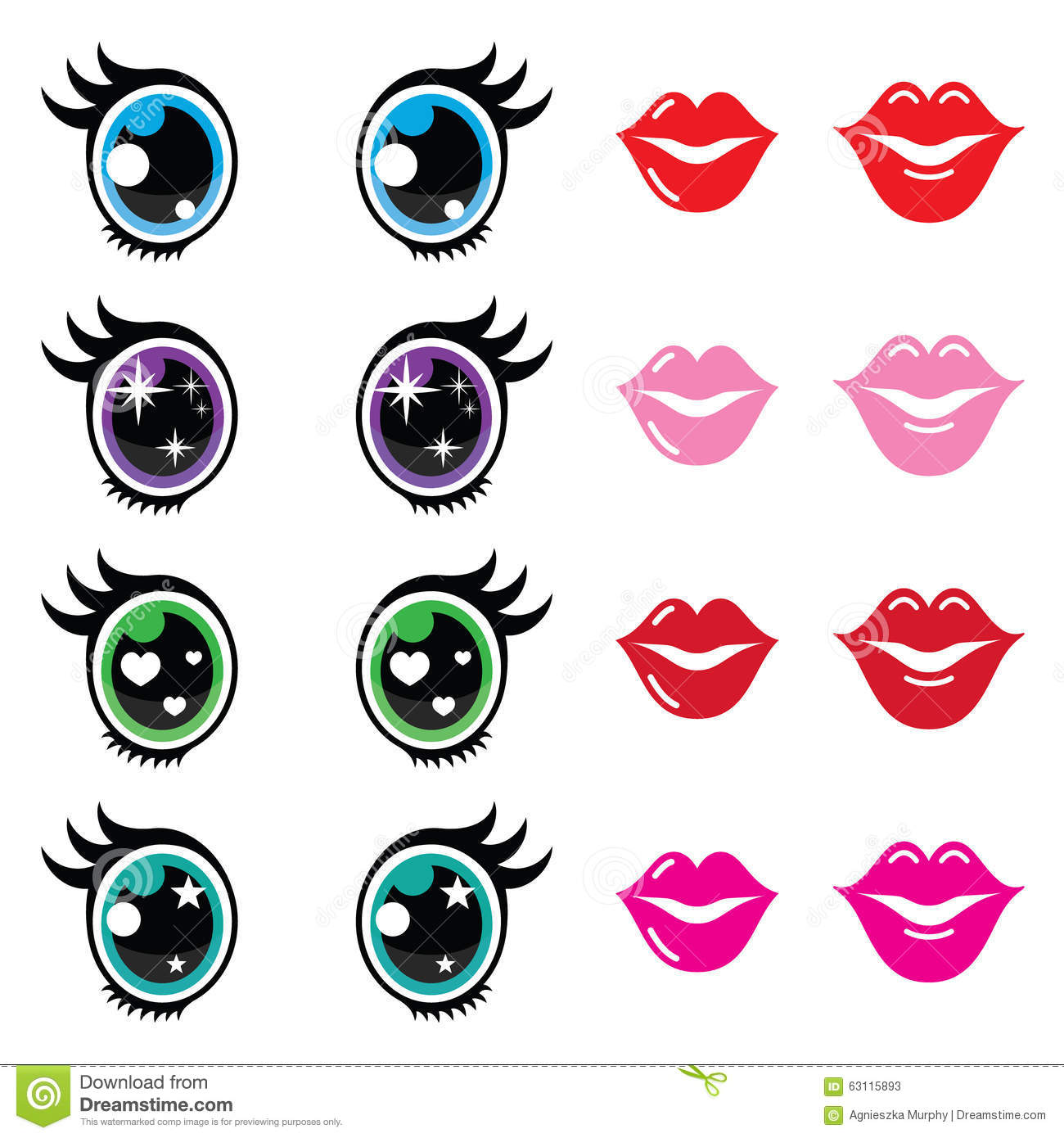 Kawaii Cute Eyes And Lips Icons Set Kawaii Character