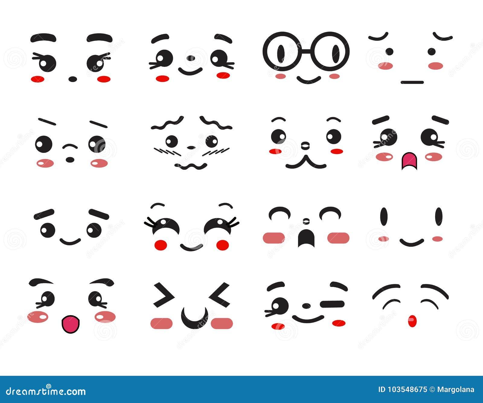 Kawaii cute smile emoticons and japanese anime emoji stock vector illustration of expressions - Emoticone kawaii ...