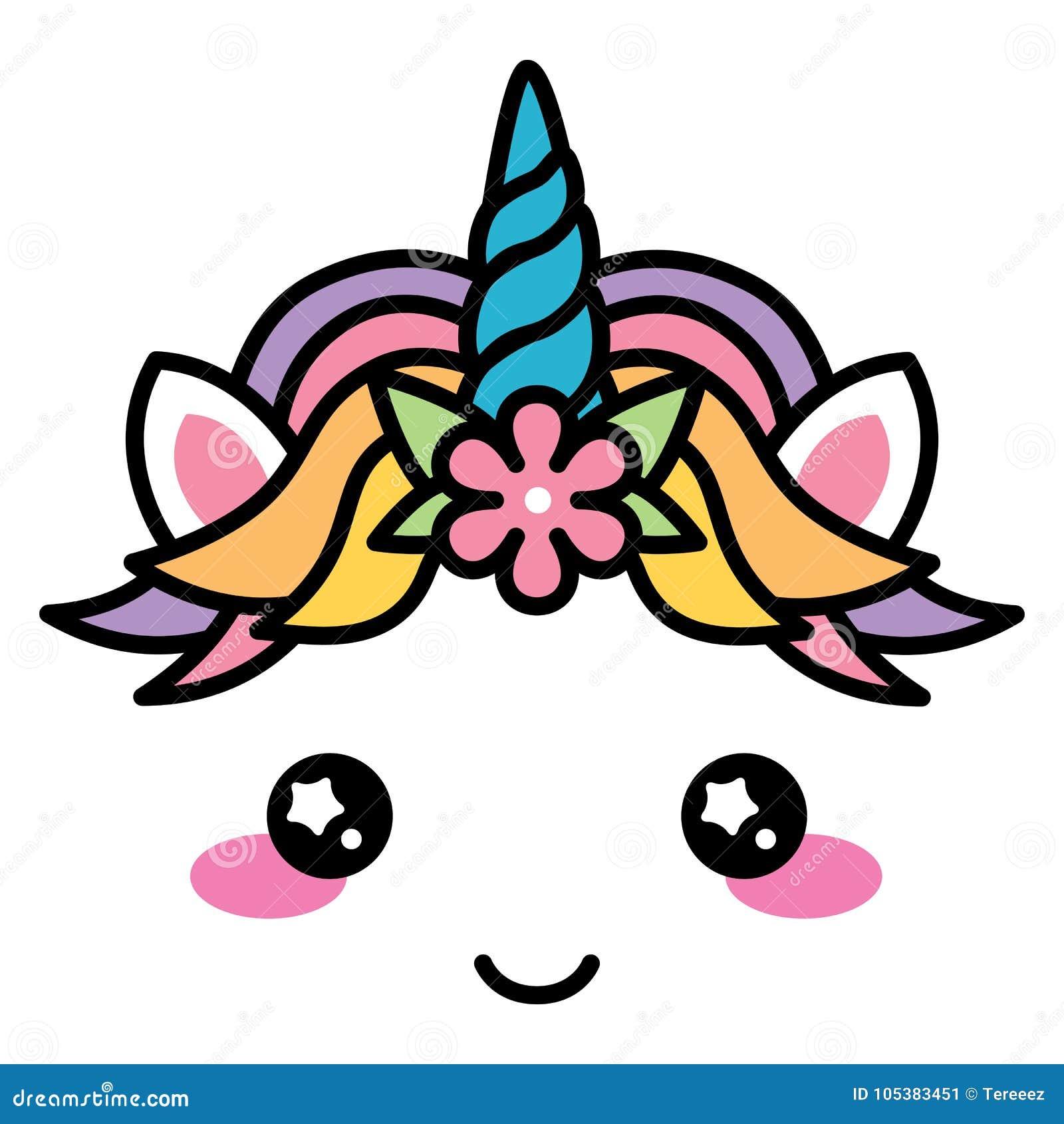 Kawaii cute unicorn face rainbow pastel color with flower