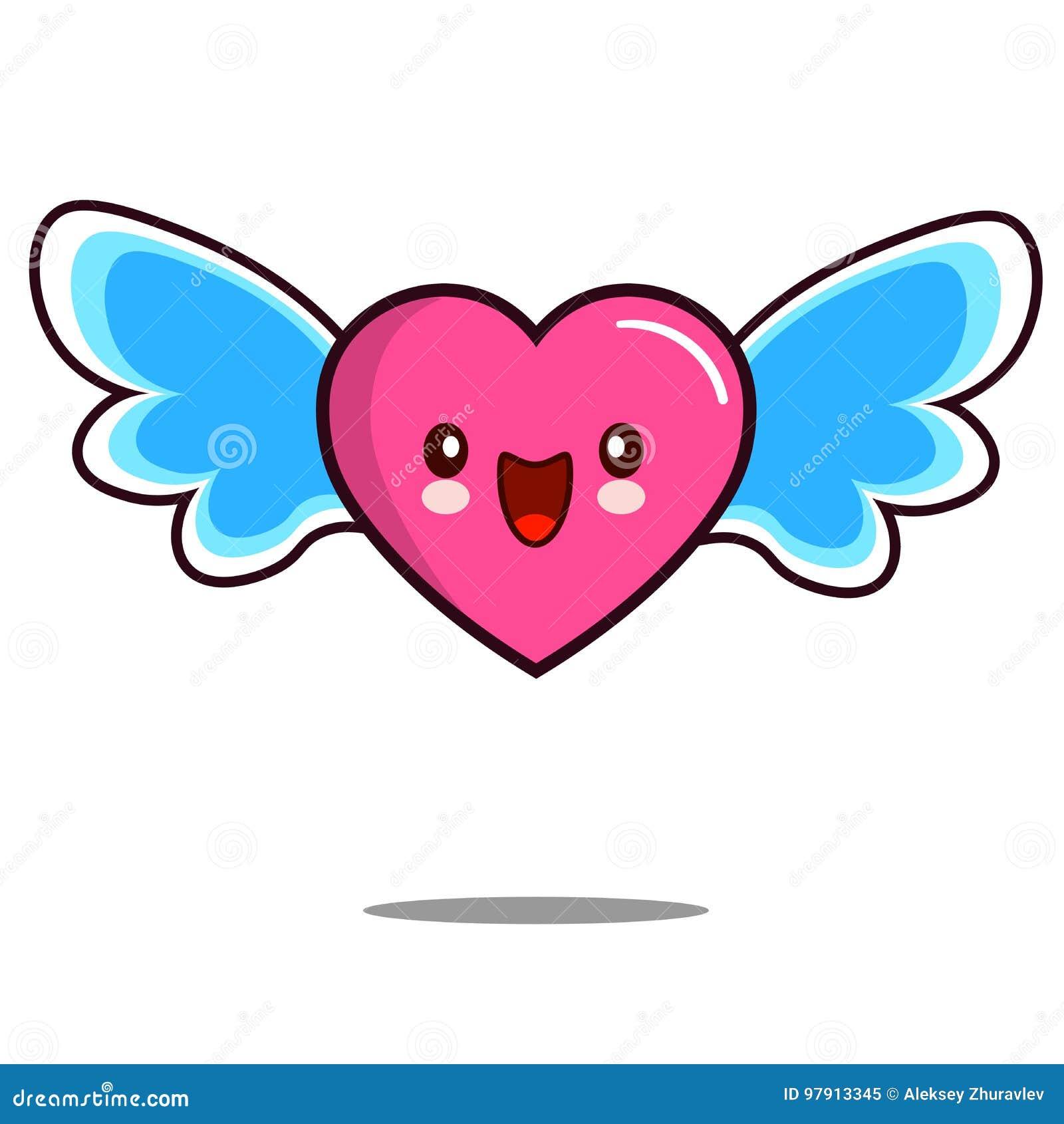 Kawaii Del Icono Del Personaje De Dibujos Animados Del Corazón Con