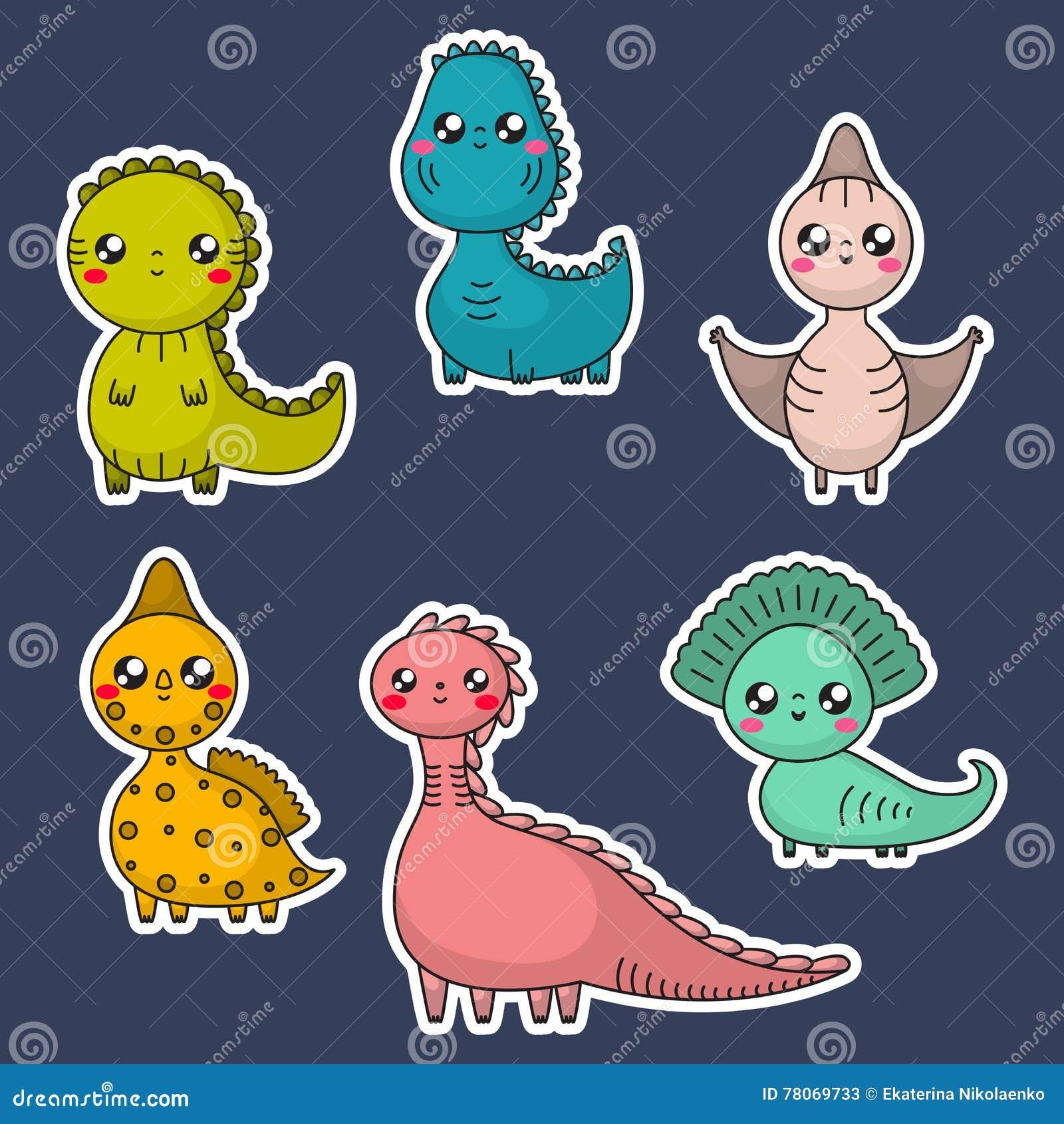 Kawaii dinosaury ustawiający postać z kreskówki dzieci kolorowa graficzna ilustracja
