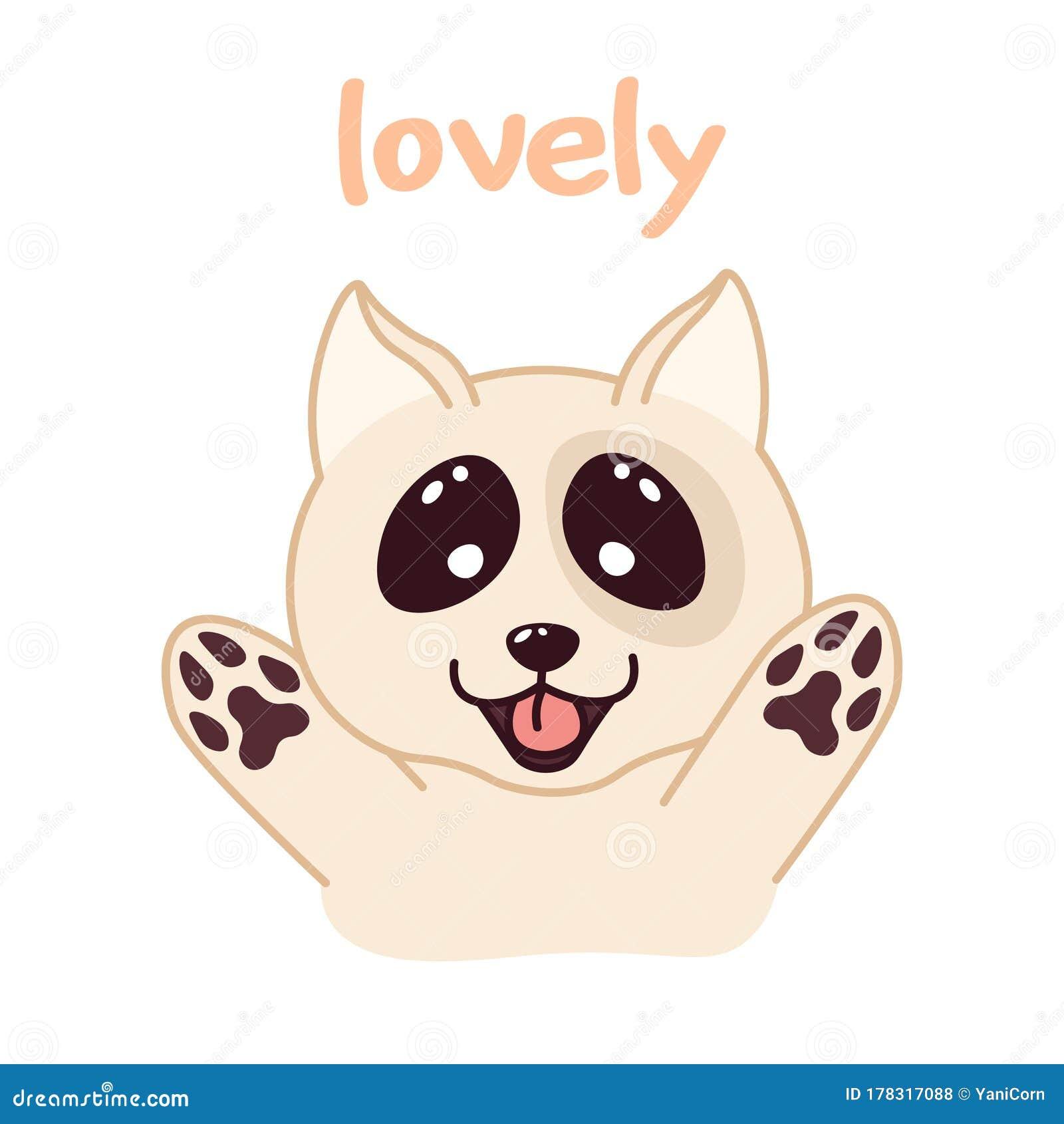 Kawaii Doodle Dog Cute Domestic Animal Lovely Cartoon Drawing