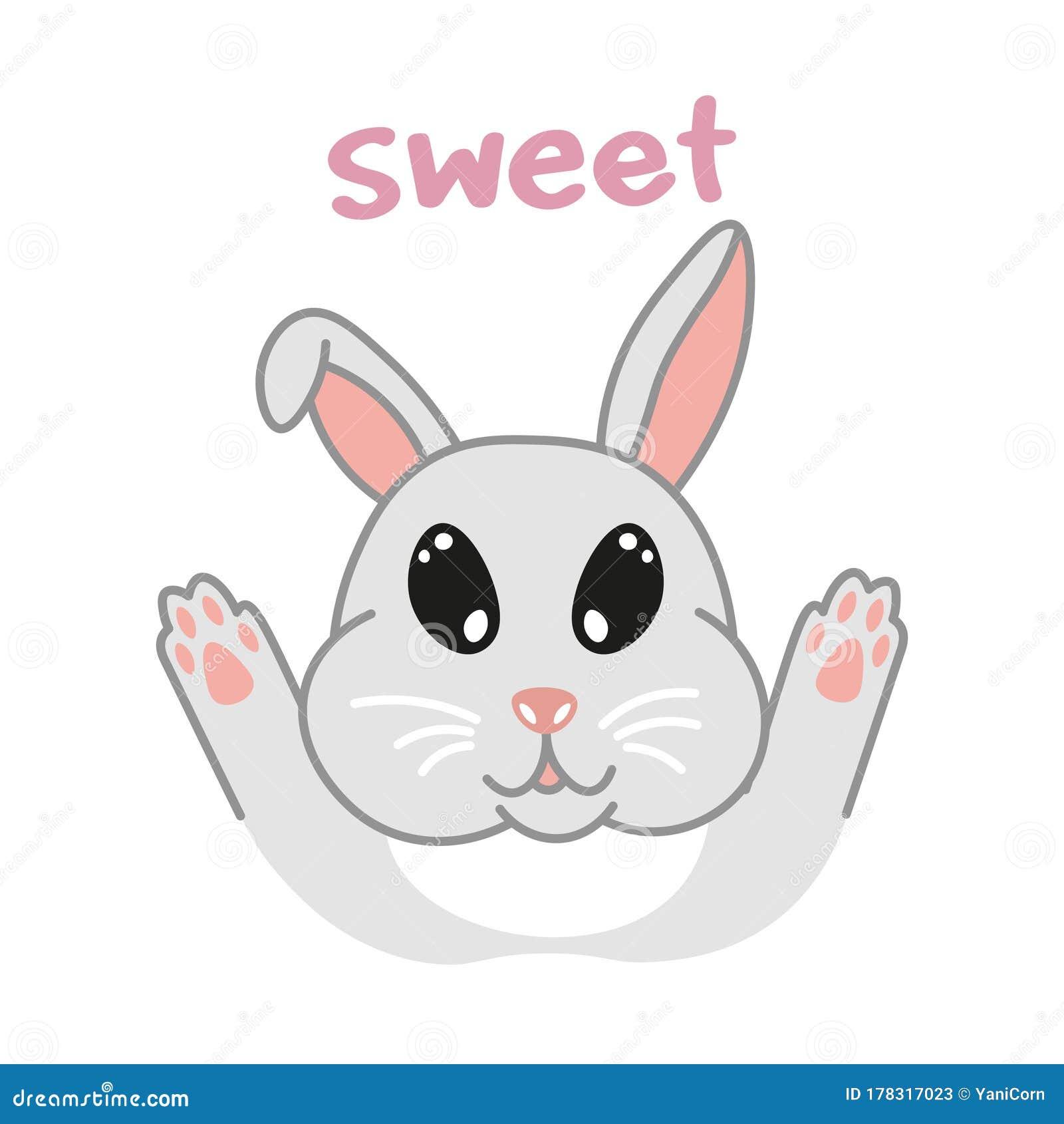Kawaii Doodle Rabbit Bunny Cute Domestic Animal Lovely Cartoon