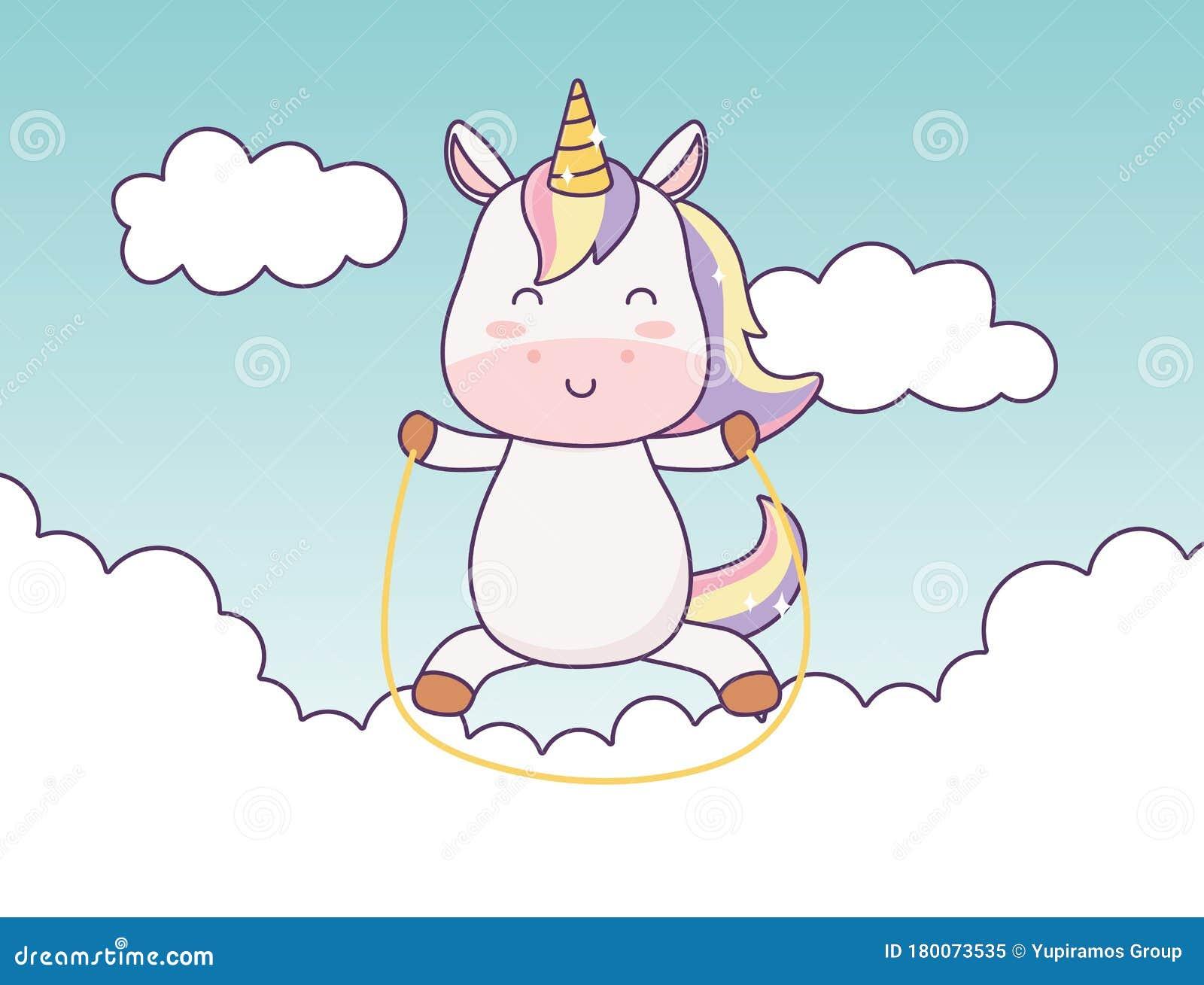 kawaii einhorn spielen in wolken himmelskartoon charakter