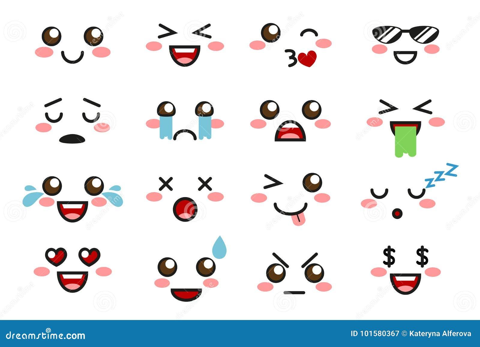 Kawaii emoji cute emoticons stock vector illustration of drawing caricature 101580367 - Emoticone kawaii ...