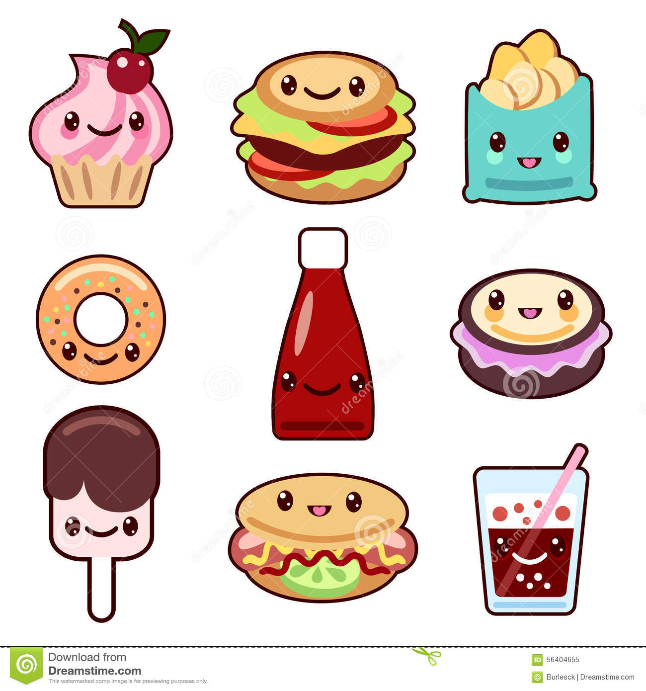 Kawaii Fast Food And Fruit Stock Vector Image 56404655
