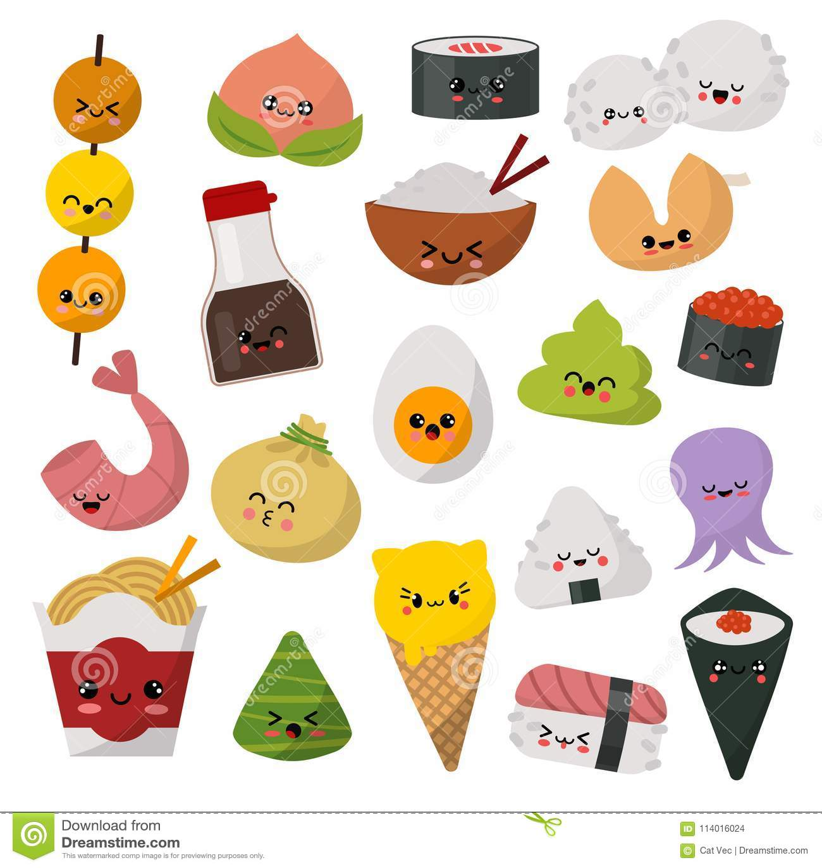 Kawaii food vector emoticon japanese sushi character and emoji sashimi roll with cartoon rice in - Emoticone kawaii ...