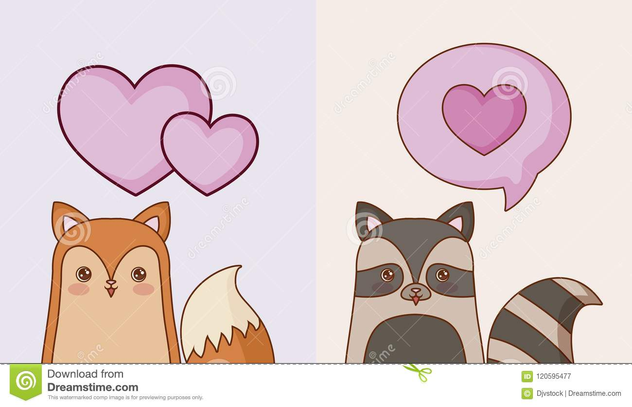 Image of: Cute Kawaii Animals And Love Design Dreamstimecom Kawaii Animals And Love Design Stock Vector Illustration Of