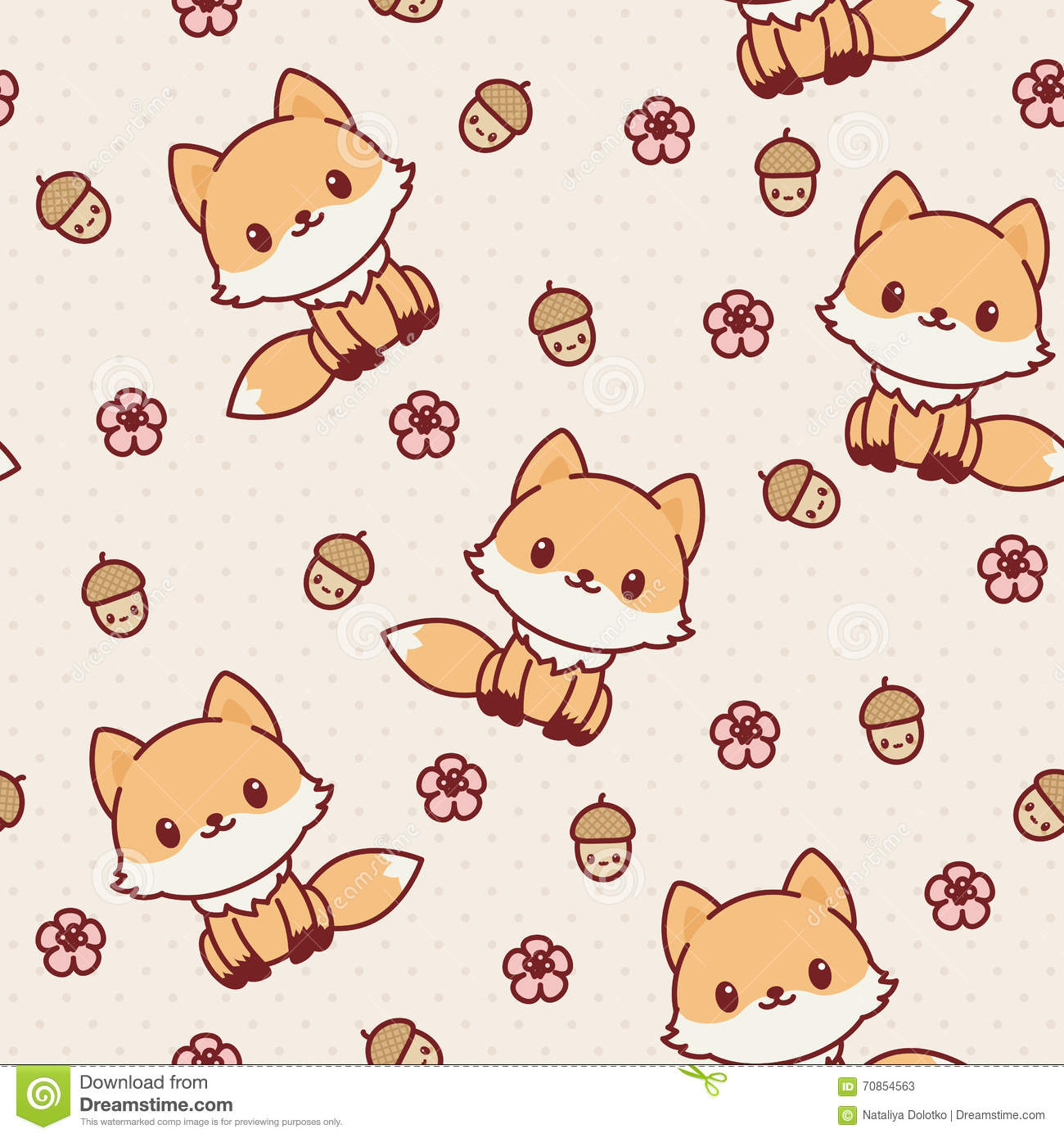 Kawaii Fox Seamless Wallpaper. Stock Vector - Image: 70854563