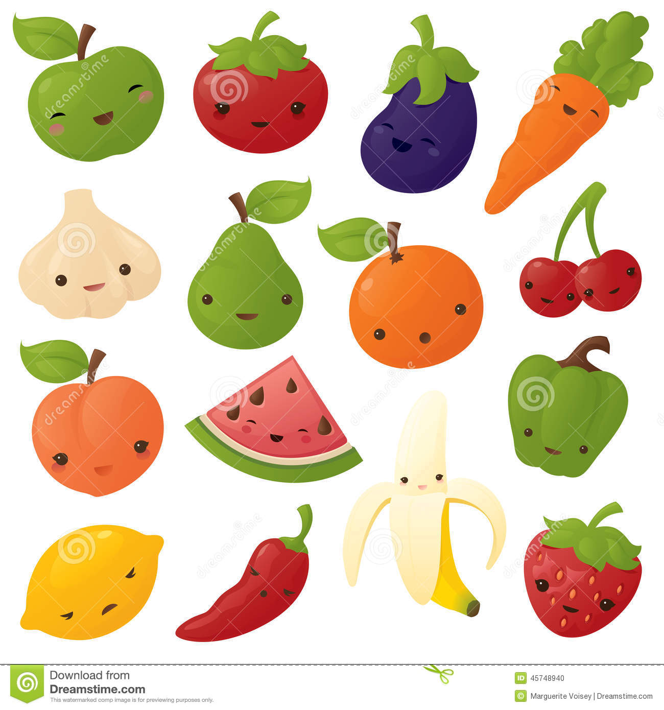 Kawaii fruit and Vegetables