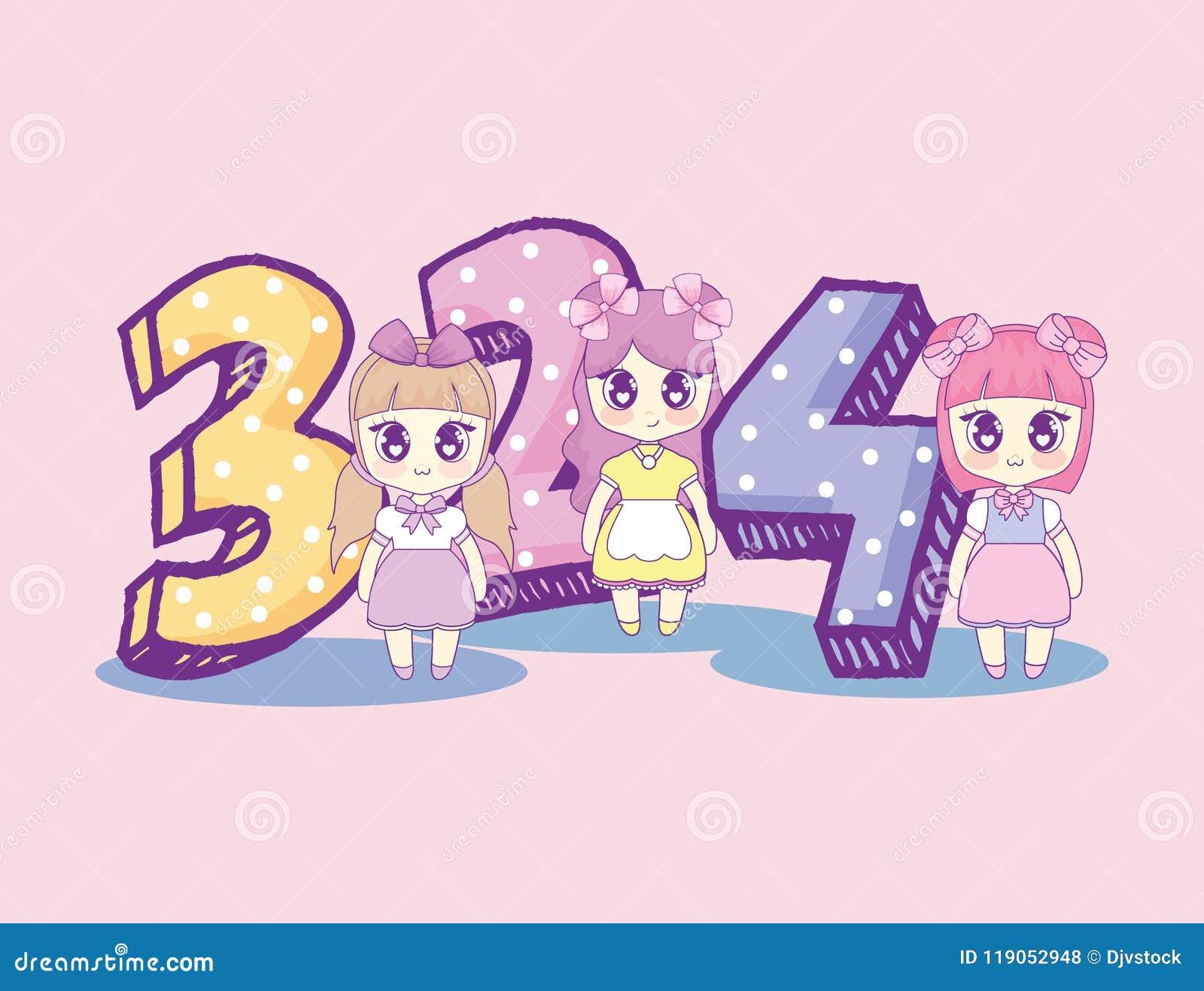 Kawaii Girls With Number Birthday Card