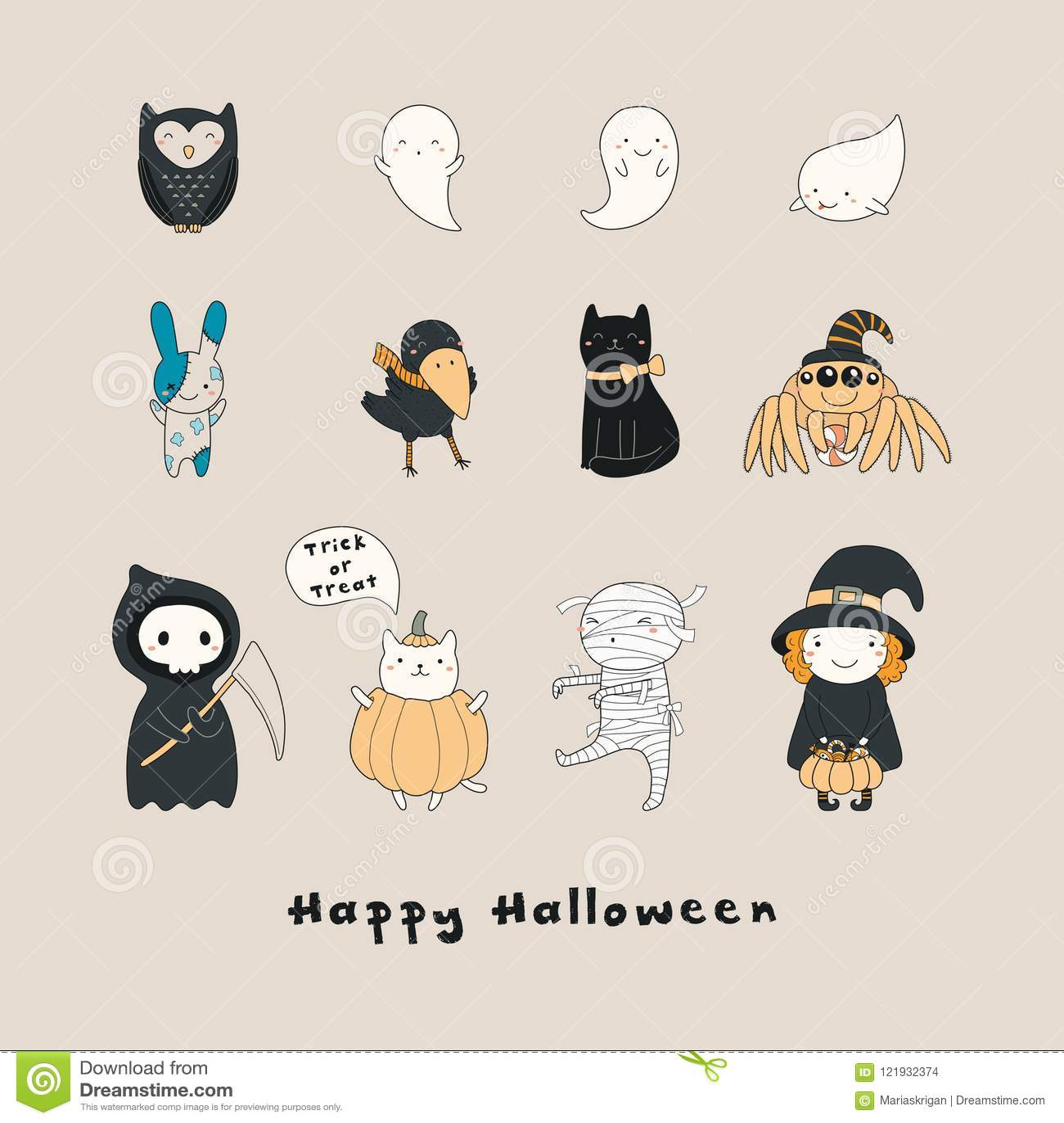 Kawaii Halloween charaktery