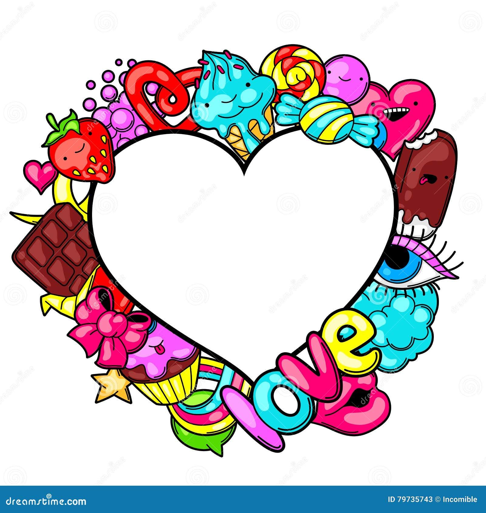 Kawaii-Herzrahmen Mit Bonbons Und Süßigkeiten Verrücktes Süßmaterial ...
