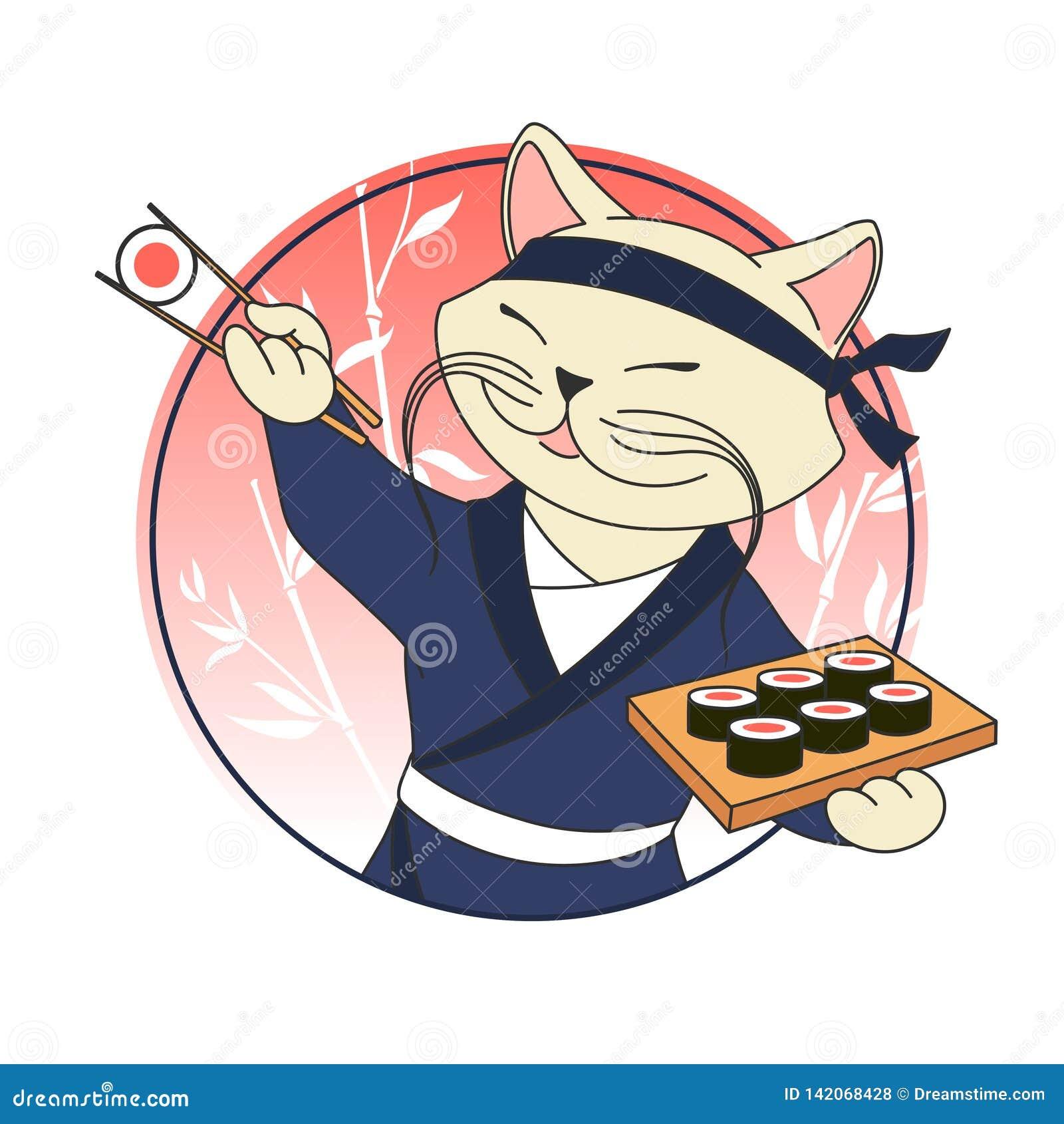 Kawaii kreskówki kota szef z suszi rolkami i chopsticks Suszi bar lub restauracja logo wektorowy szablon