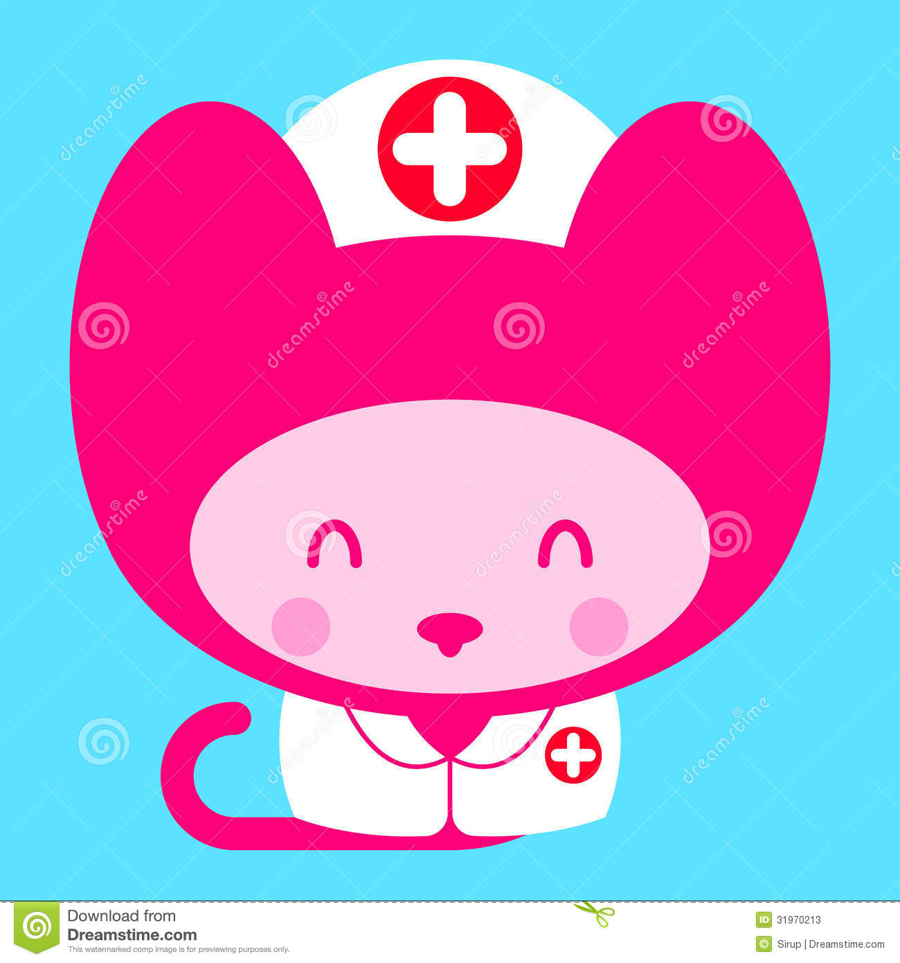 Cartoon drawing of an adorable little pink girl kitty cat dressed as a ...