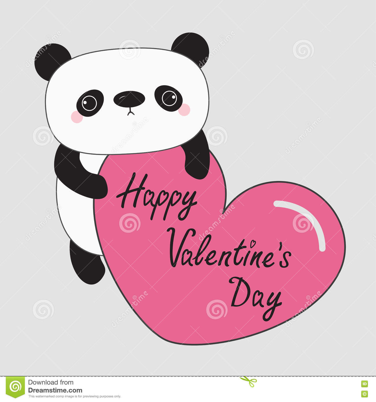 kawaii panda baby bear happy valentines day cute cartoon