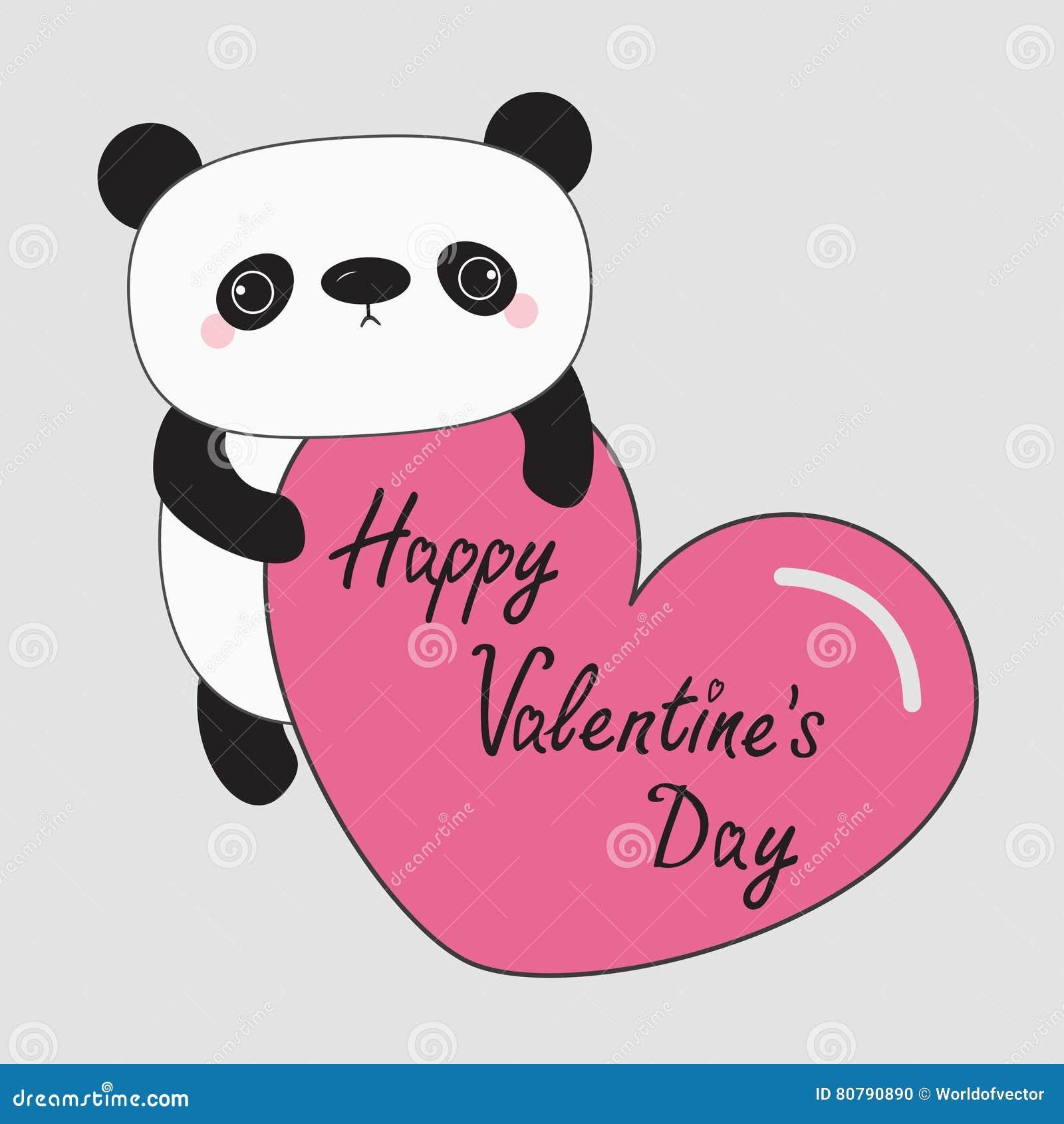 Kawaii Panda Baby Bear. Happy Valentines Day. Cute Cartoon Character  Holding Big Pink Heart.