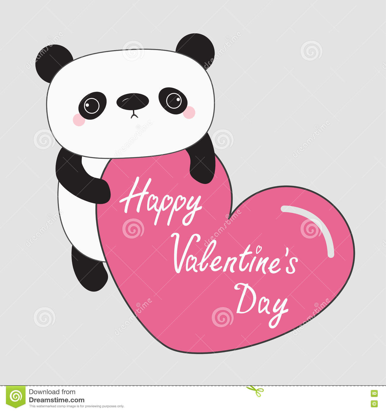 Kawaii Panda Baby Bear. Happy Valentines Day Text. Cute Cartoon Character  Holding Big Pink