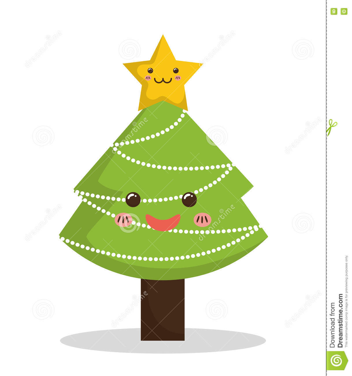 Kawaii pine tree icon merry christmas design vector - Pinos de navidad ...