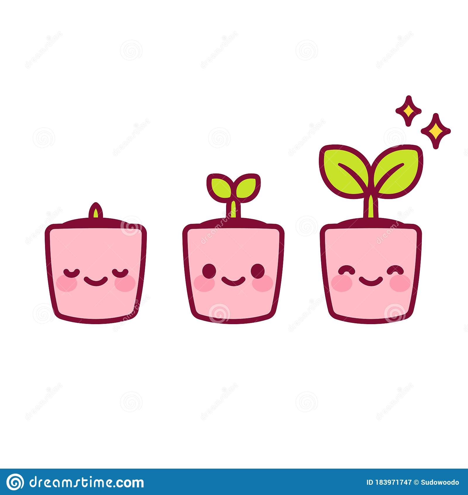 Kawaii Potted Plant Stock Vector Illustration Of Design 183971747